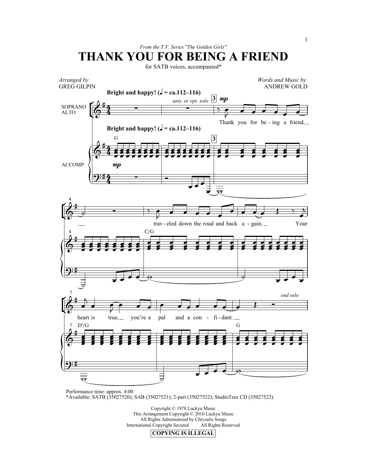 Partition chorale Thank You For Being A Friend de Greg Gilpin - SATB