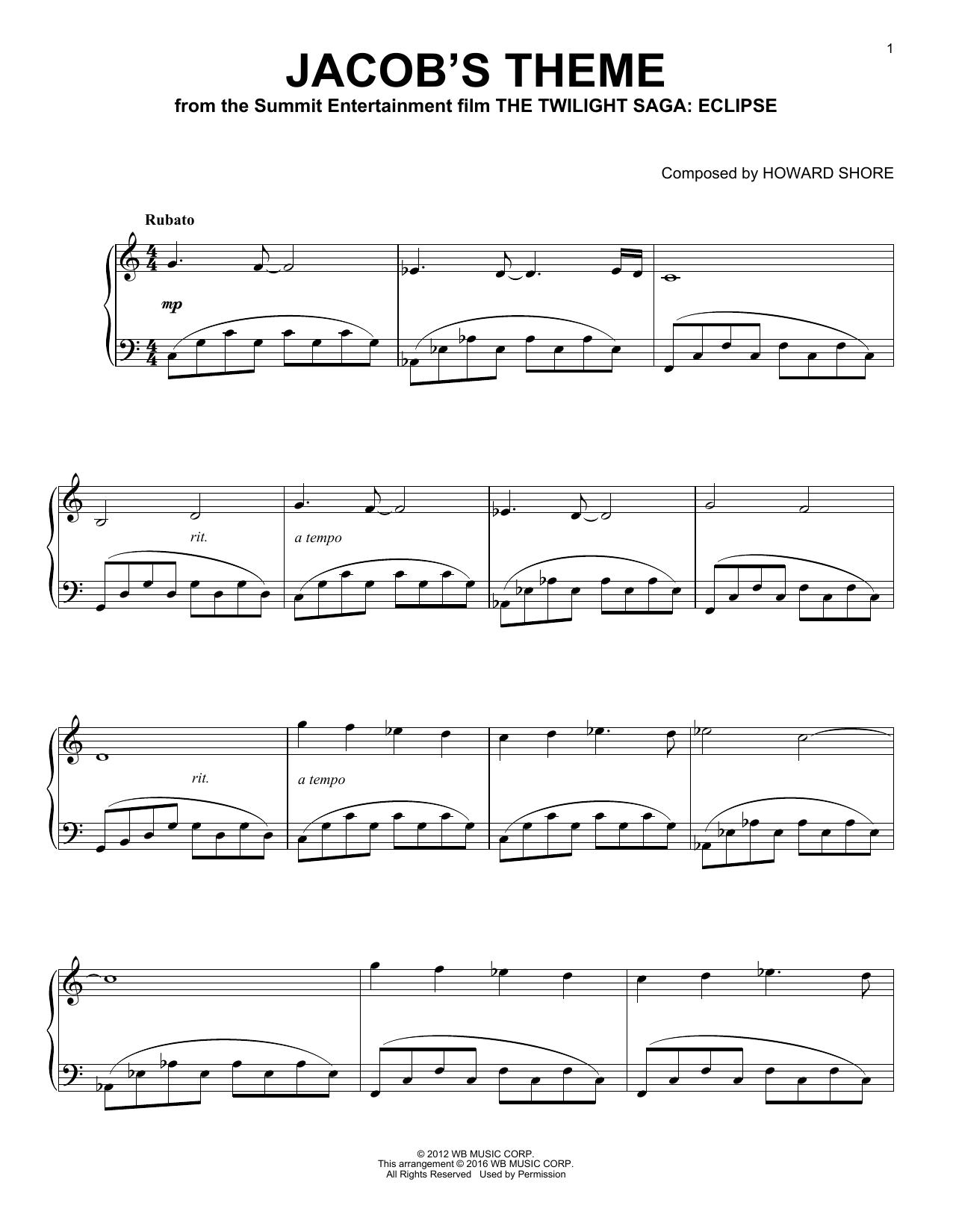Partition piano Jacob's Theme de Howard Shore - Piano Solo