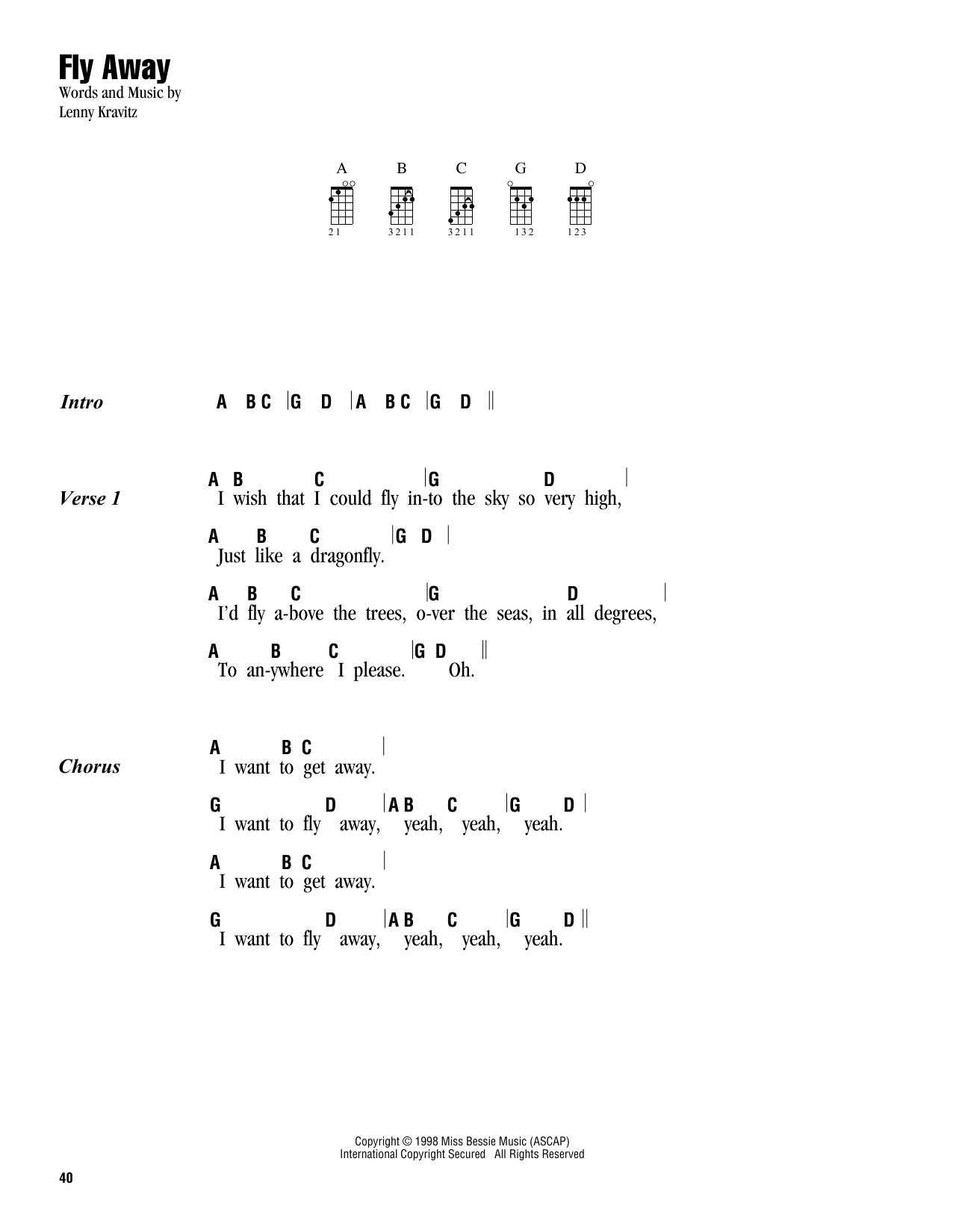 Tablature guitare Fly Away de Lenny Kravitz - Ukulele (strumming patterns)