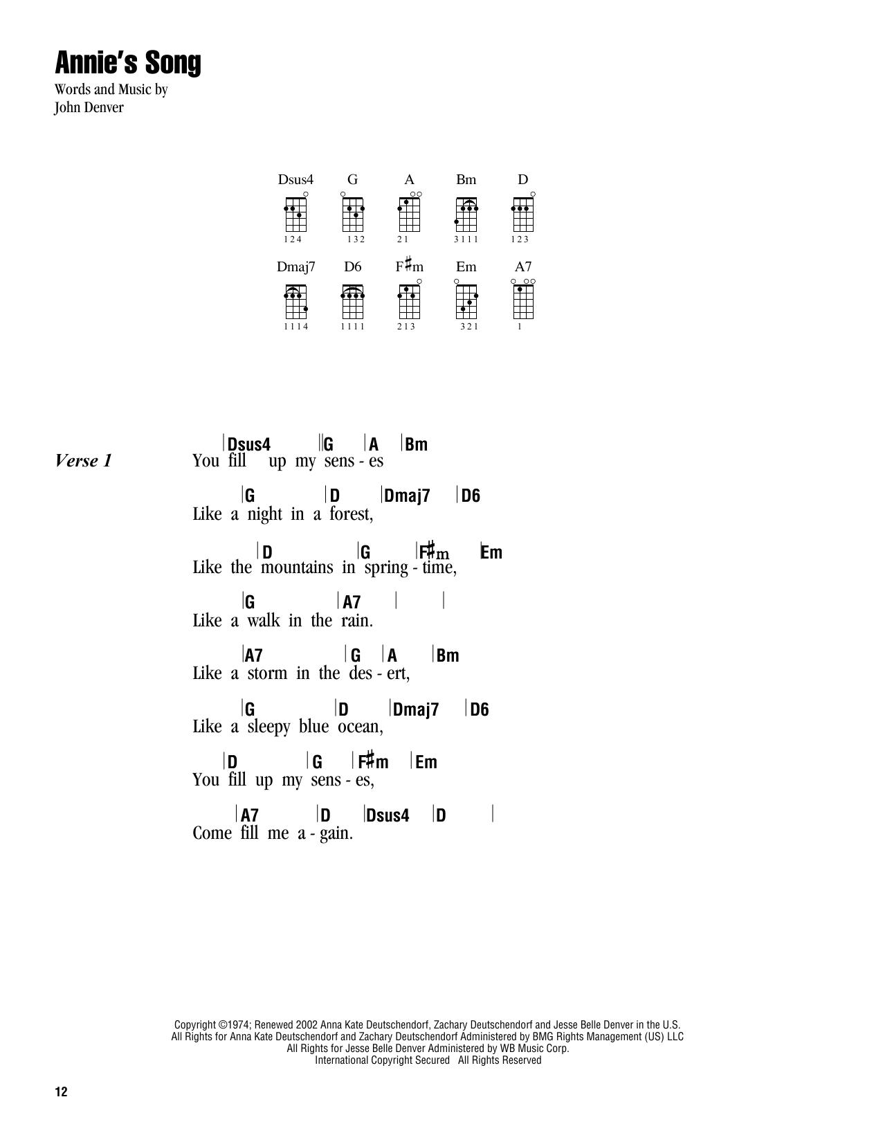 Tablature guitare Annie's Song de John Denver - Ukulele (strumming patterns)
