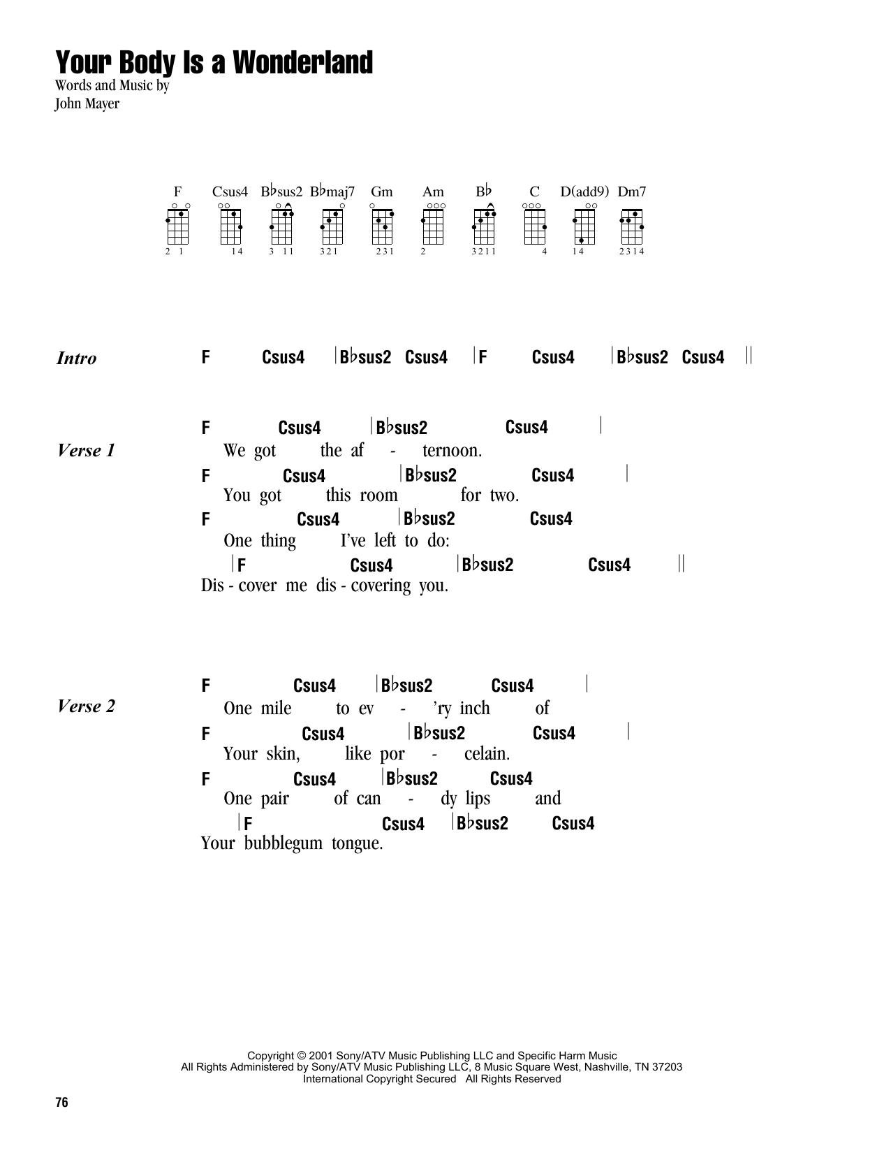 Tablature guitare Your Body Is A Wonderland de John Mayer - Ukulele (strumming patterns)