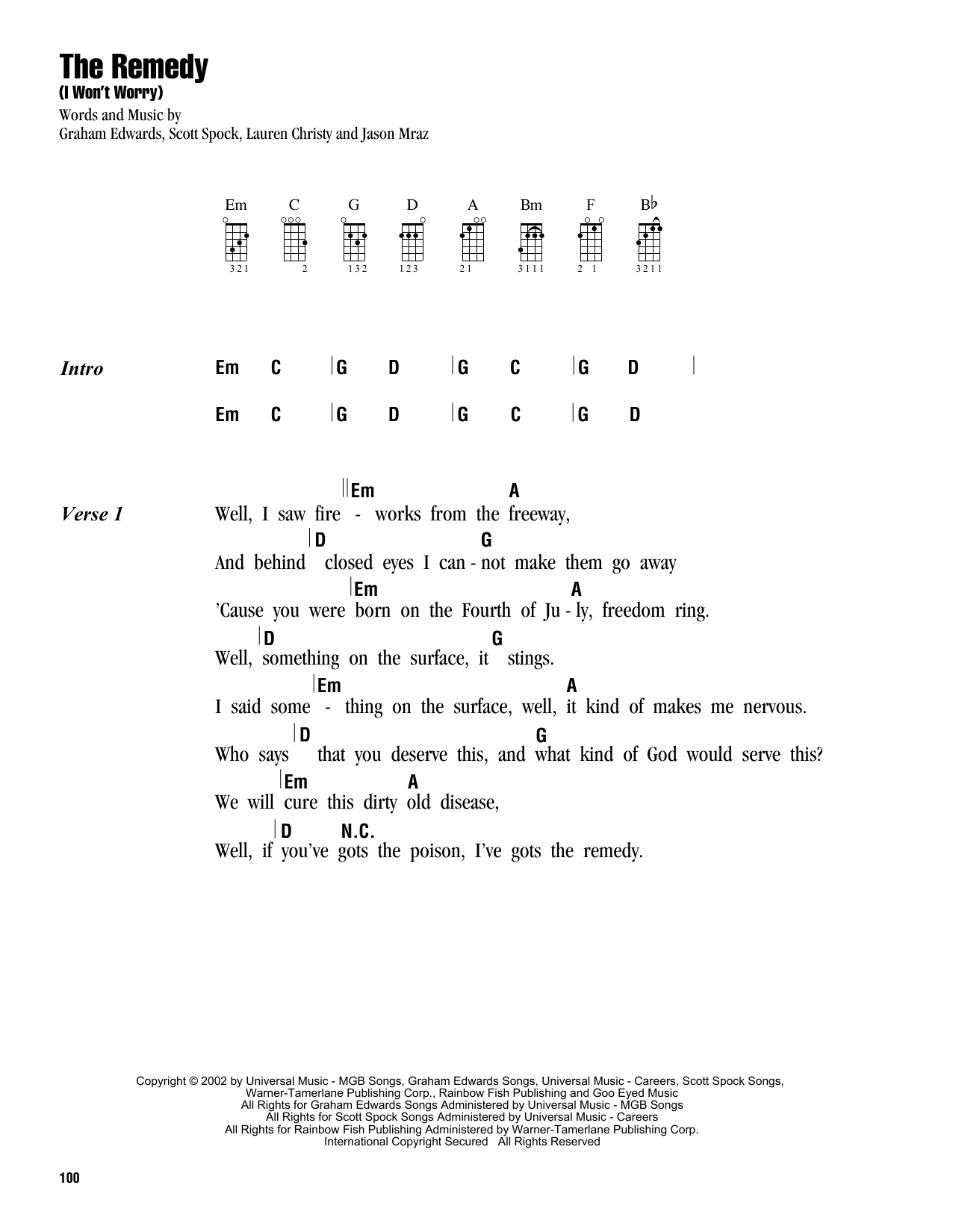Tablature guitare The Remedy (I Won't Worry) de Jason Mraz - Ukulele (strumming patterns)