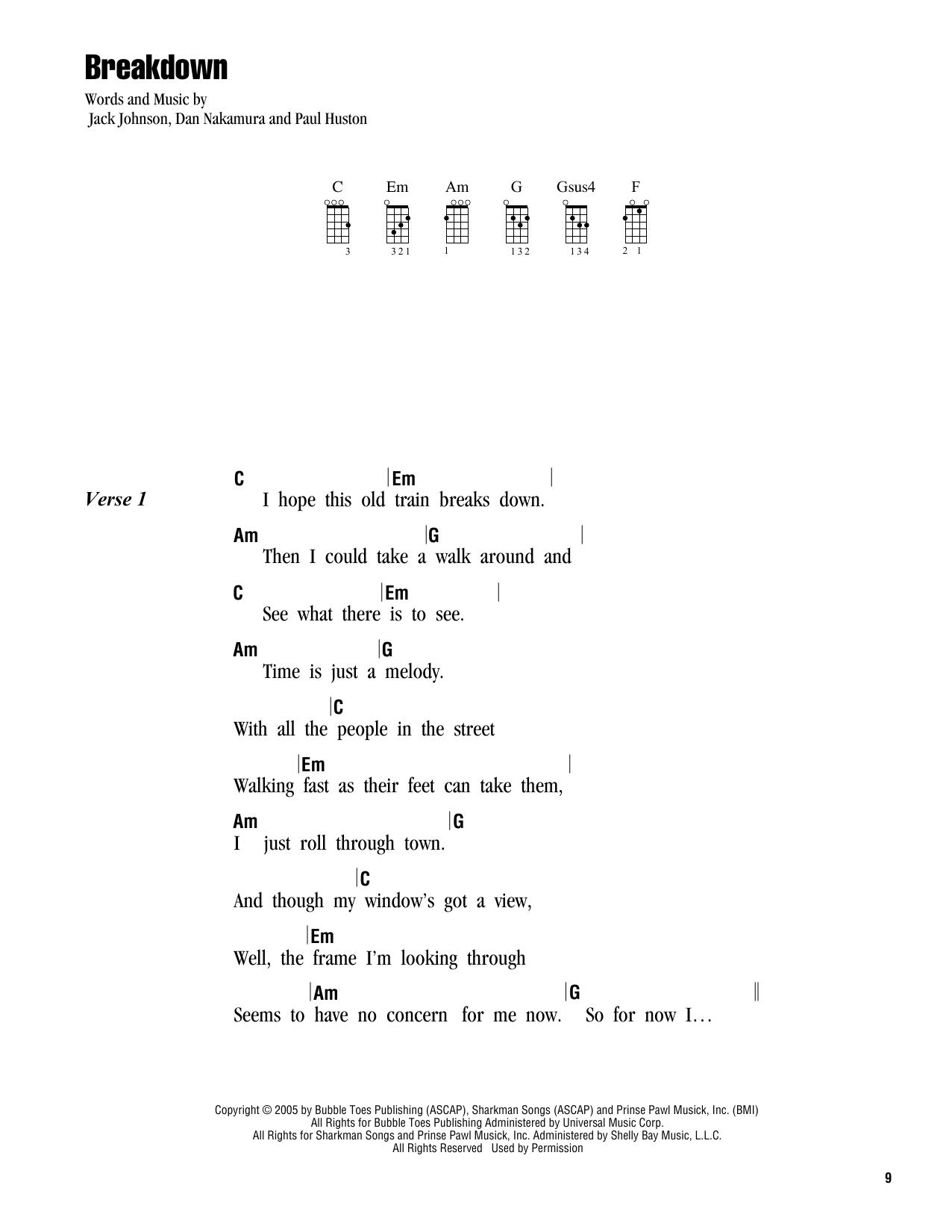 Tablature guitare Breakdown de Jack Johnson - Ukulele (strumming patterns)