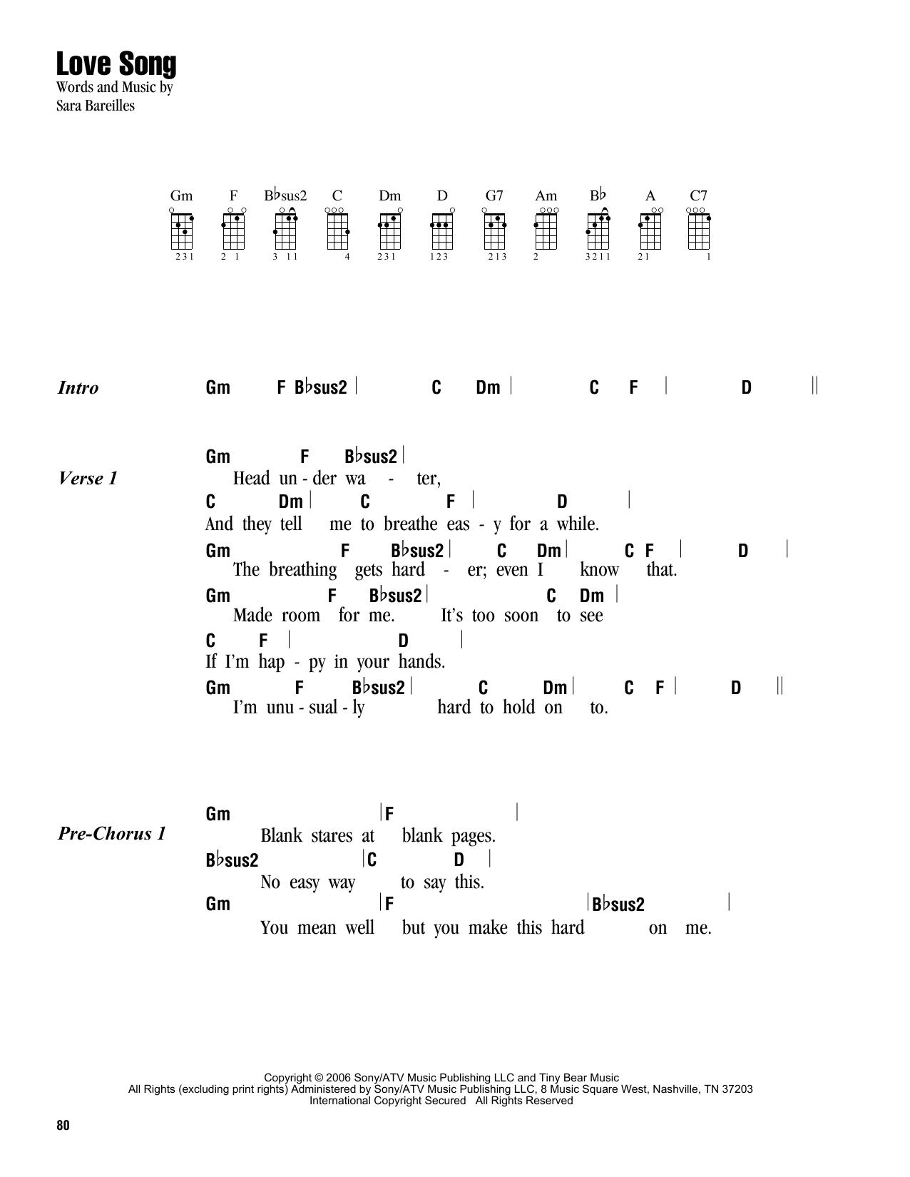 Tablature guitare Love Song de Sara Bareilles - Ukulele (strumming patterns)