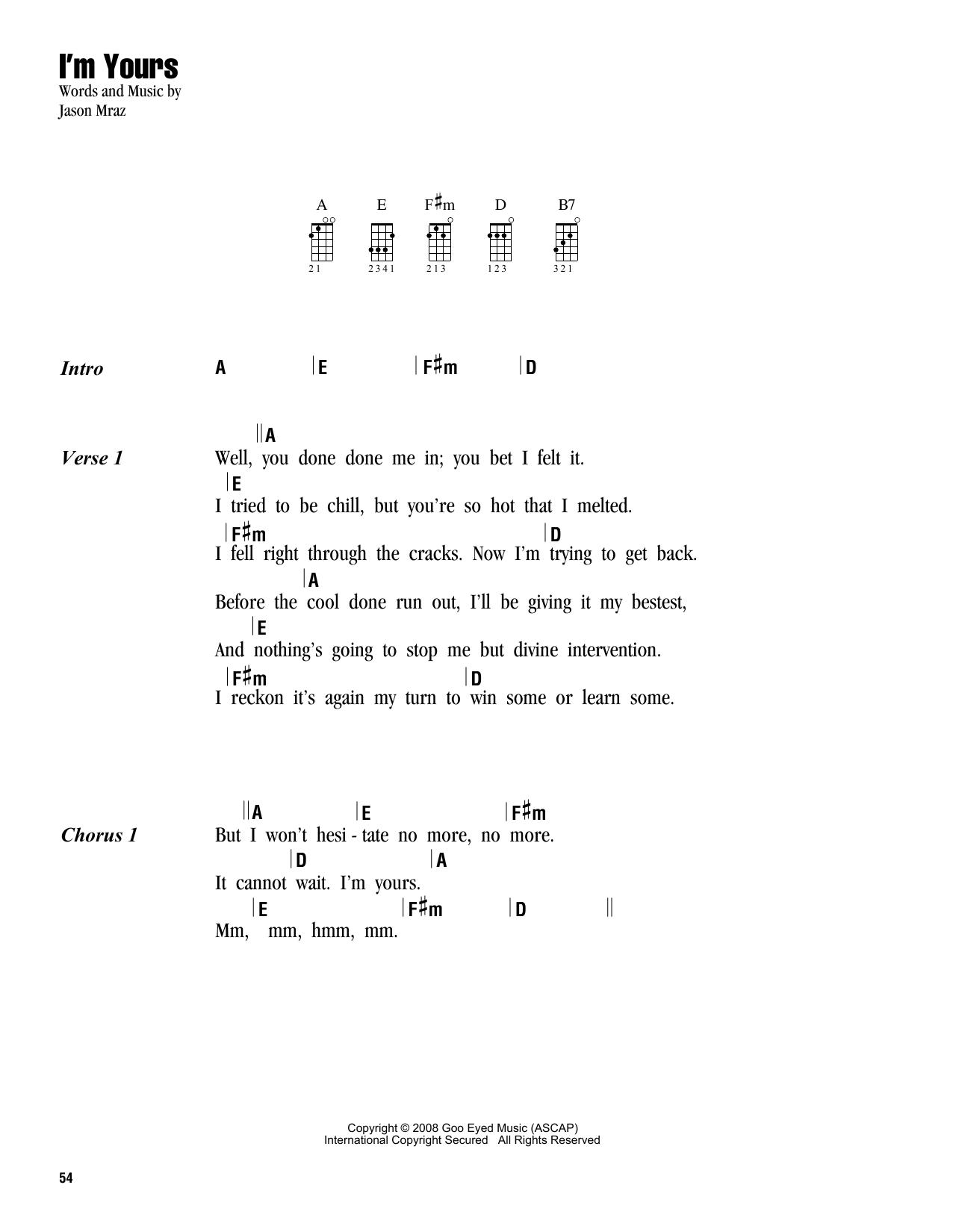 Tablature guitare I'm Yours de Jason Mraz - Ukulele (strumming patterns)