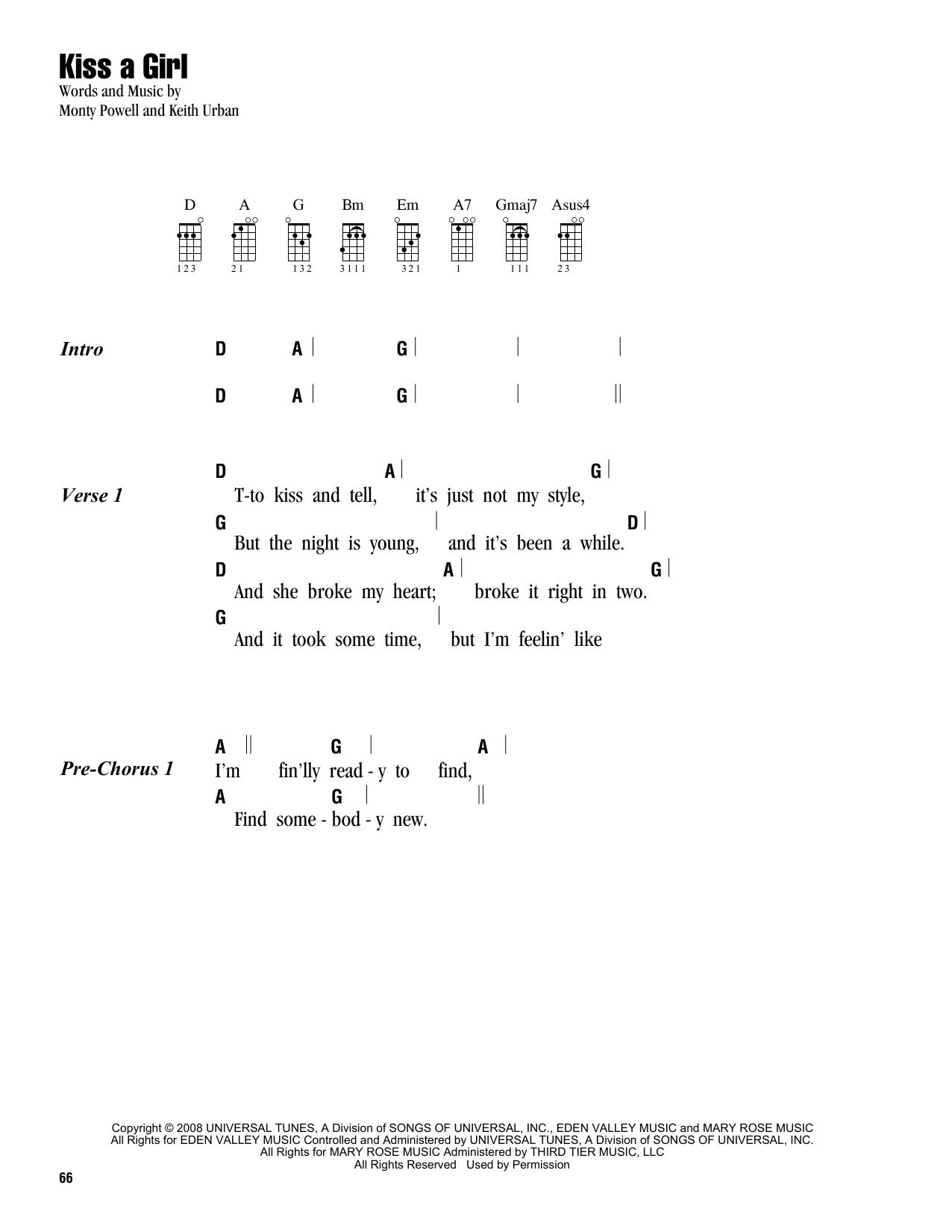 Tablature guitare Kiss A Girl de Keith Urban - Ukulele (strumming patterns)