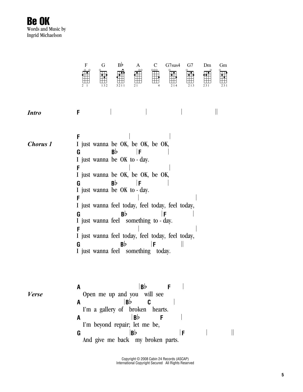 Be OK sheet music by Ingrid Michaelson (Ukulele with strumming patterns u2013 163101)