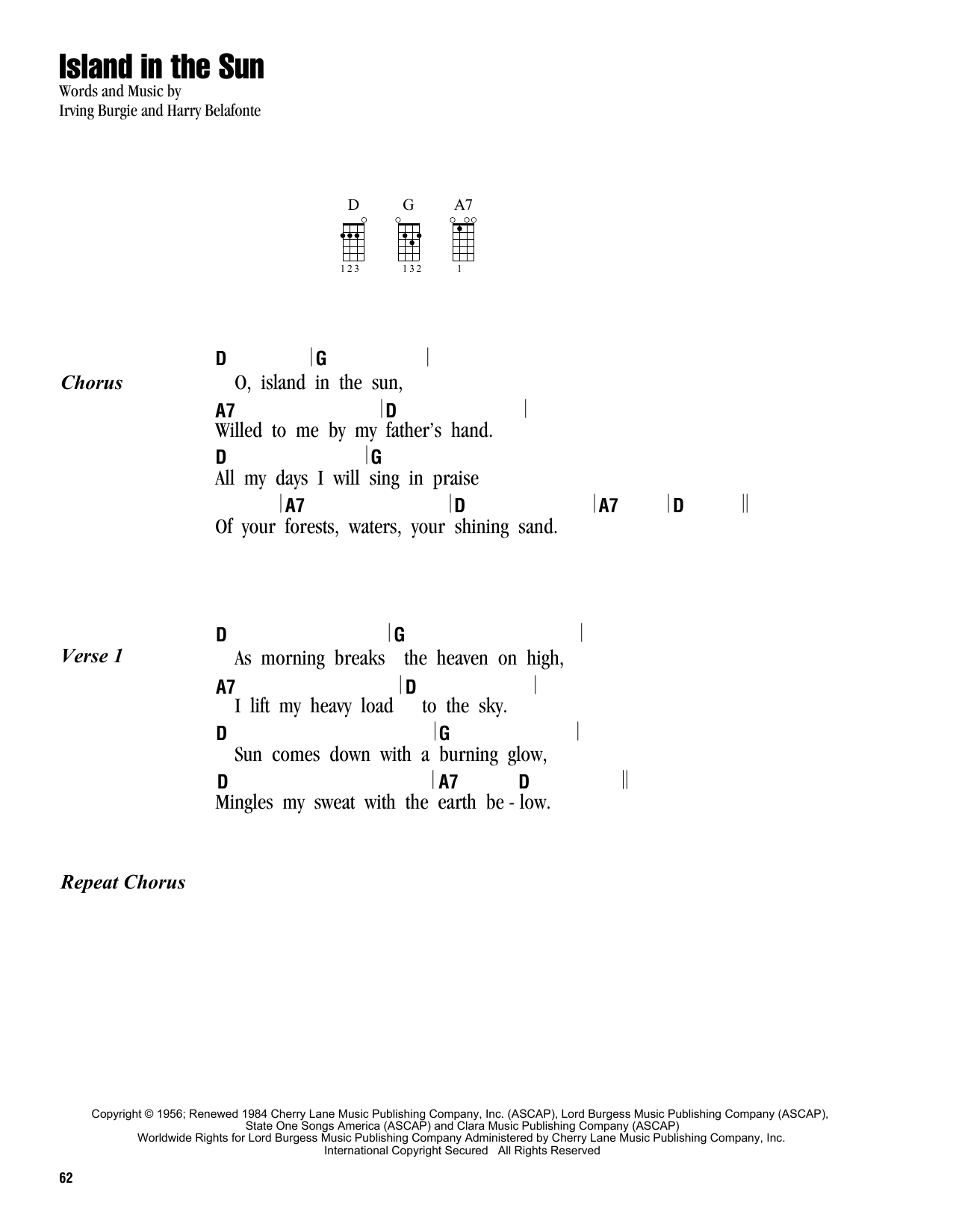 Tablature guitare Island In The Sun de Harry Belafonte - Ukulele (strumming patterns)