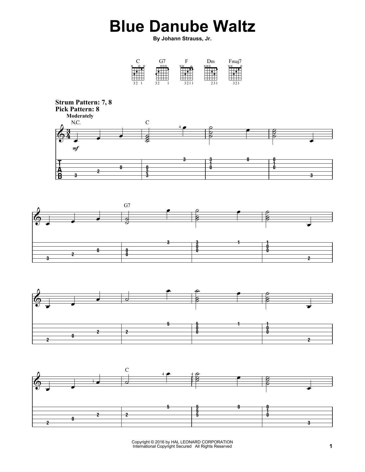 Tablature guitare Blue Danube Waltz de Johann Strauss, Jr. - Tablature guitare facile