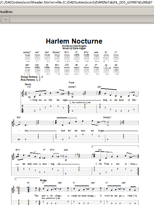 Tablature guitare Harlem Nocturne de Dick Rogers - Tablature guitare facile