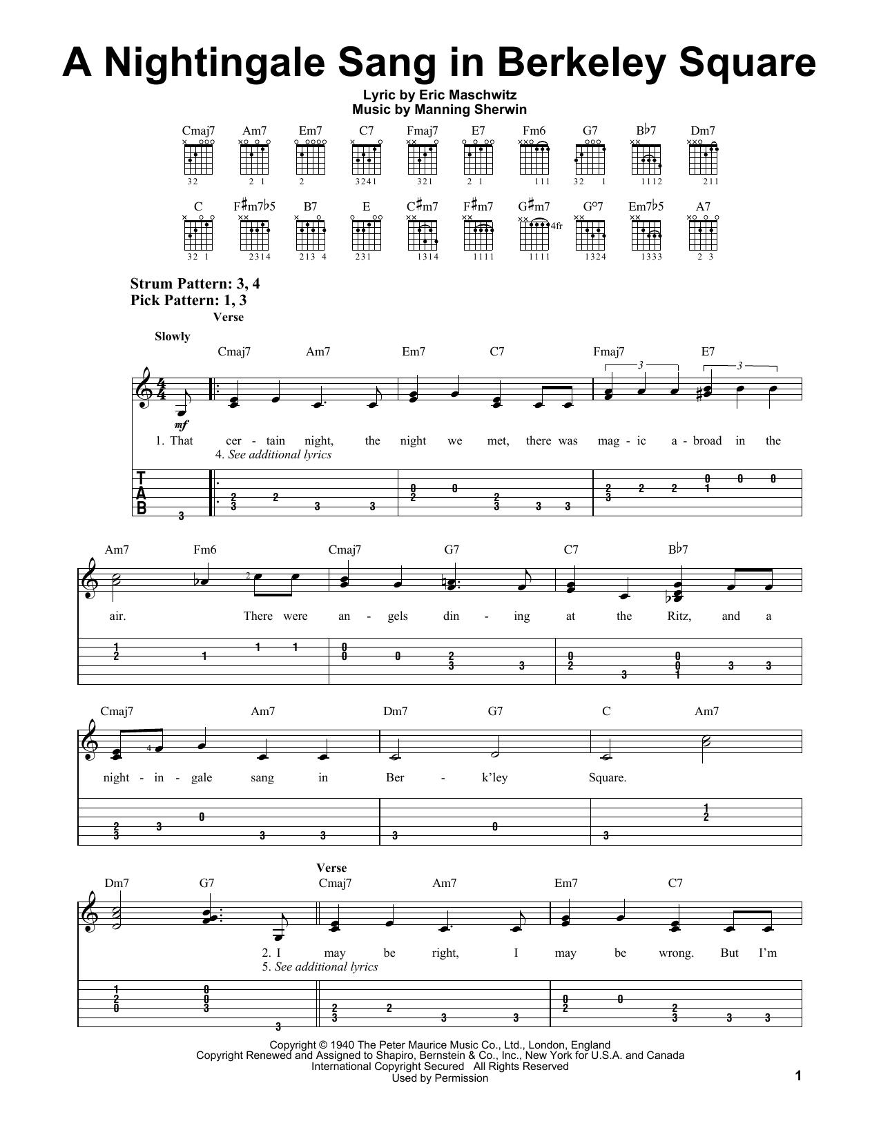 Tablature guitare A Nightingale Sang In Berkeley Square de Manhattan Transfer - Tablature guitare facile