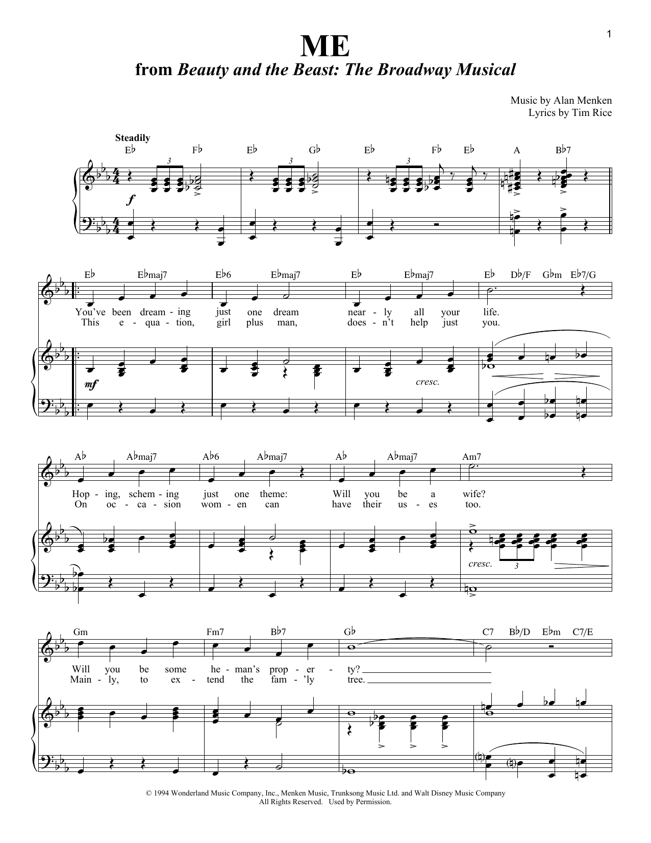 Partition piano Me de Alan Menken - Piano Voix