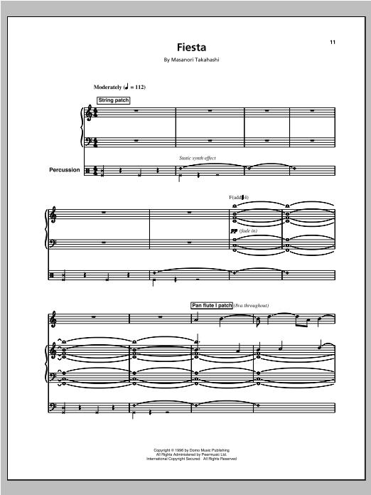 Partition piano Fiesta/Space Queen (Space 2) de Kitaro - Piano Voix Guitare (Mélodie Main Droite)