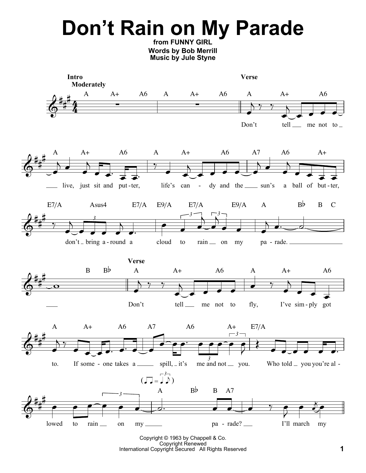 funny girl dont rain on my parade chords
