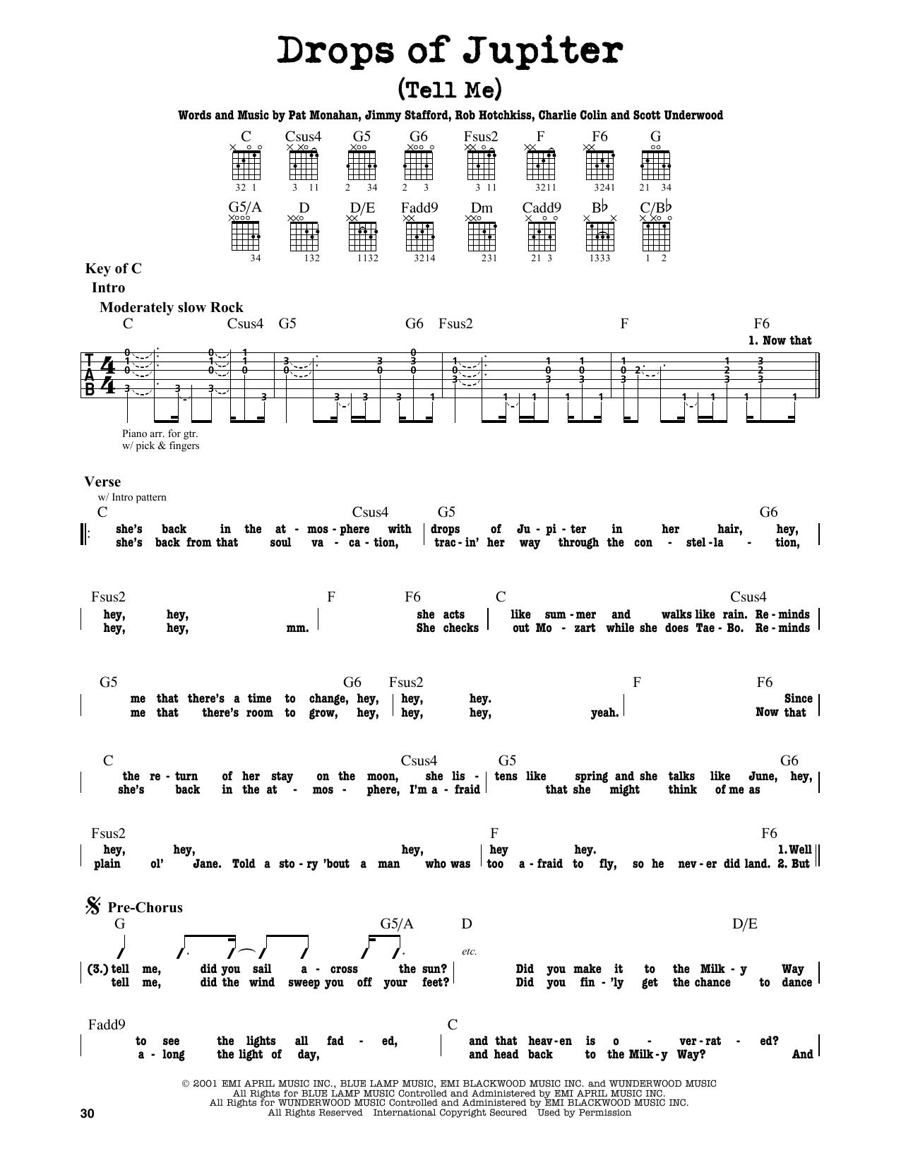 Partition autre Drops Of Jupiter (Tell Me) de Train - Tablature Guitare Lead