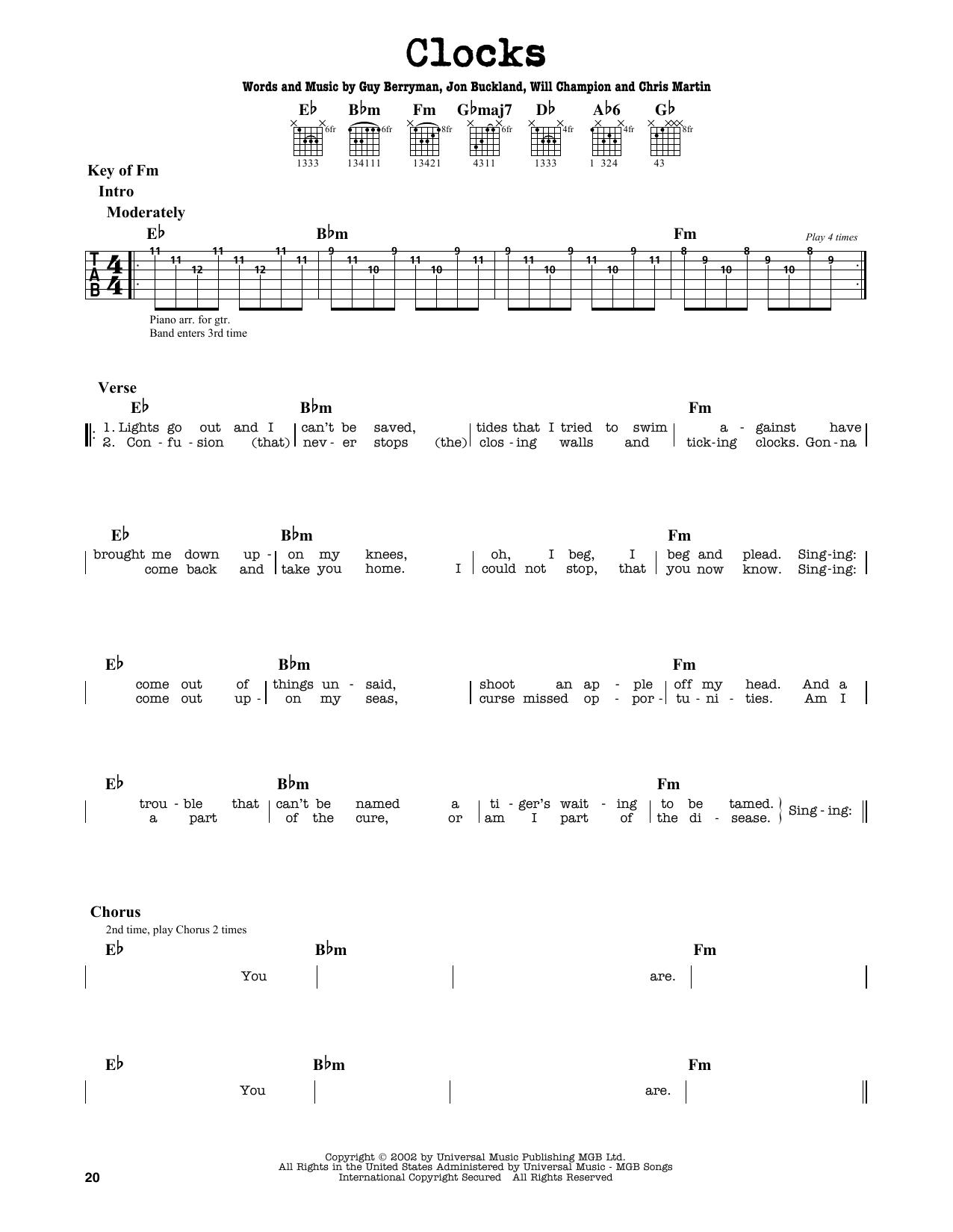 Partition autre Clocks de Coldplay - Tablature Guitare Lead
