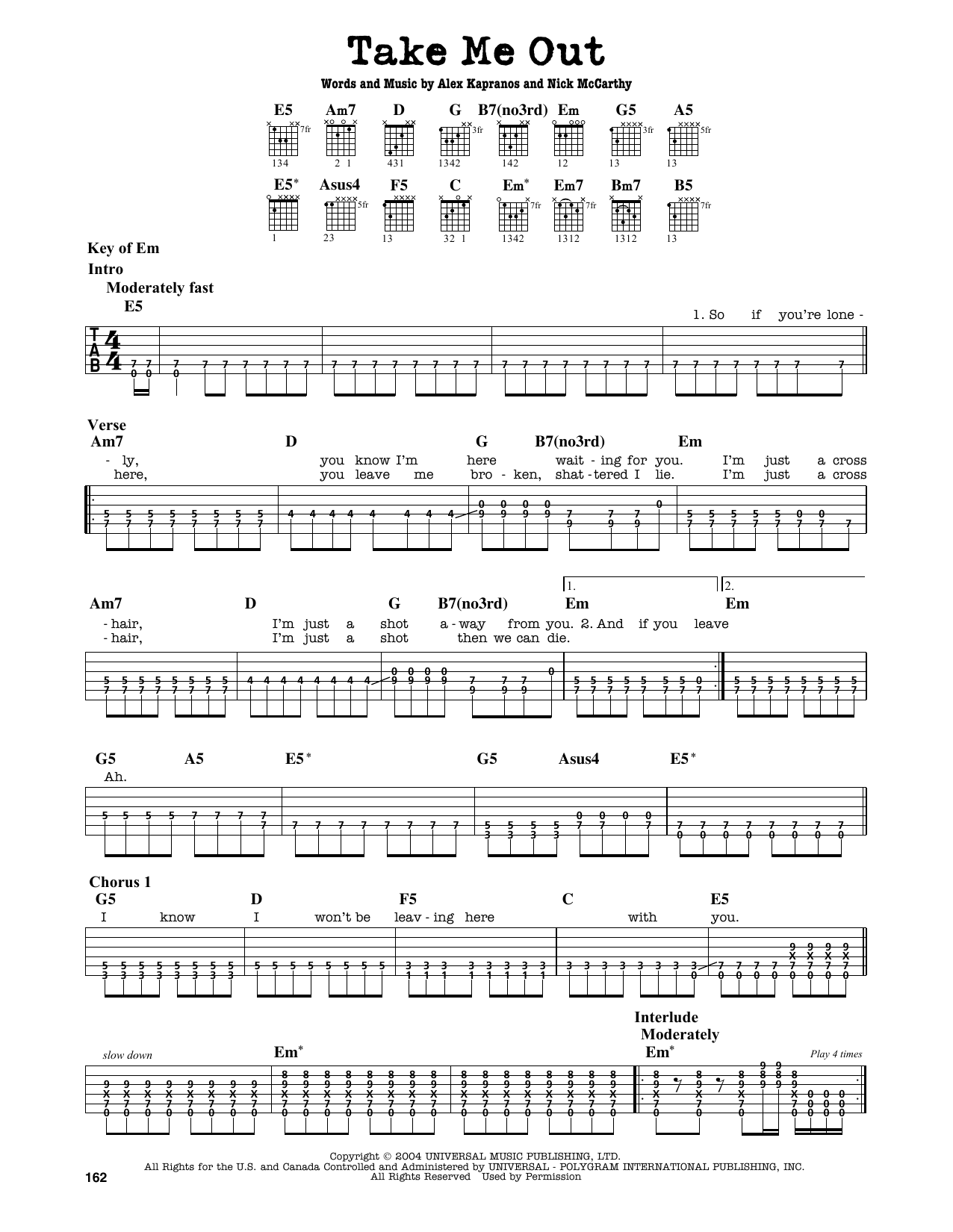 Partition autre Take Me Out de Franz Ferdinand - Tablature Guitare Lead