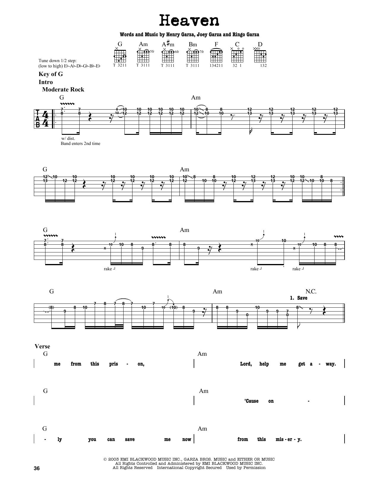 Partition autre Heaven de Los Lonely Boys - Tablature Guitare Lead