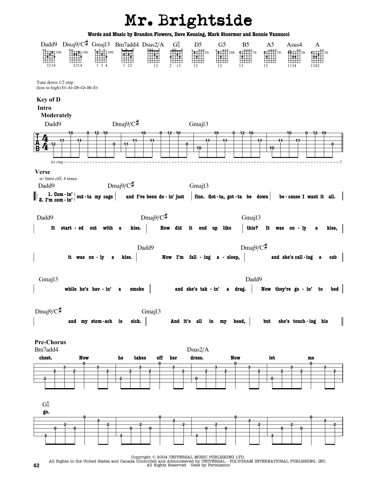 Partition autre Mr. Brightside de The Killers - Tablature Guitare Lead