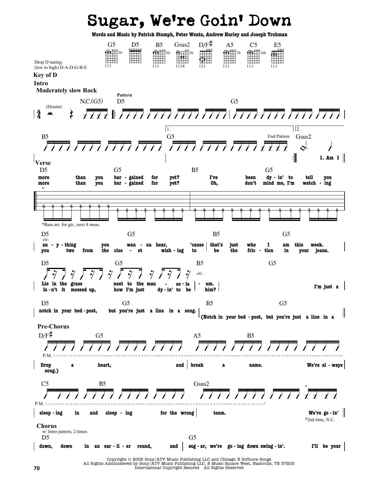 Partition autre Sugar, We're Goin' Down de Fall Out Boy - Tablature Guitare Lead