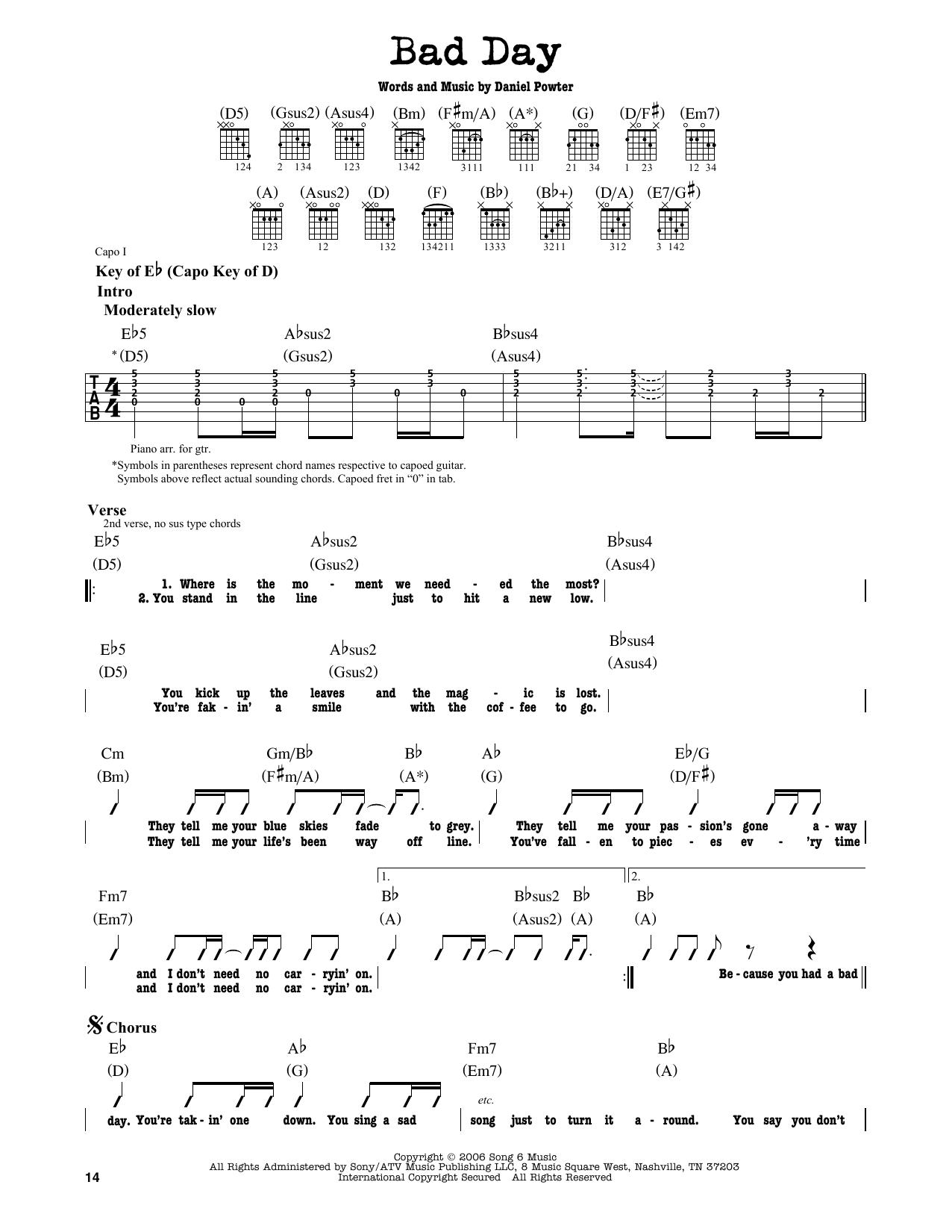 Partition autre Bad Day de Daniel Powter - Tablature Guitare Lead
