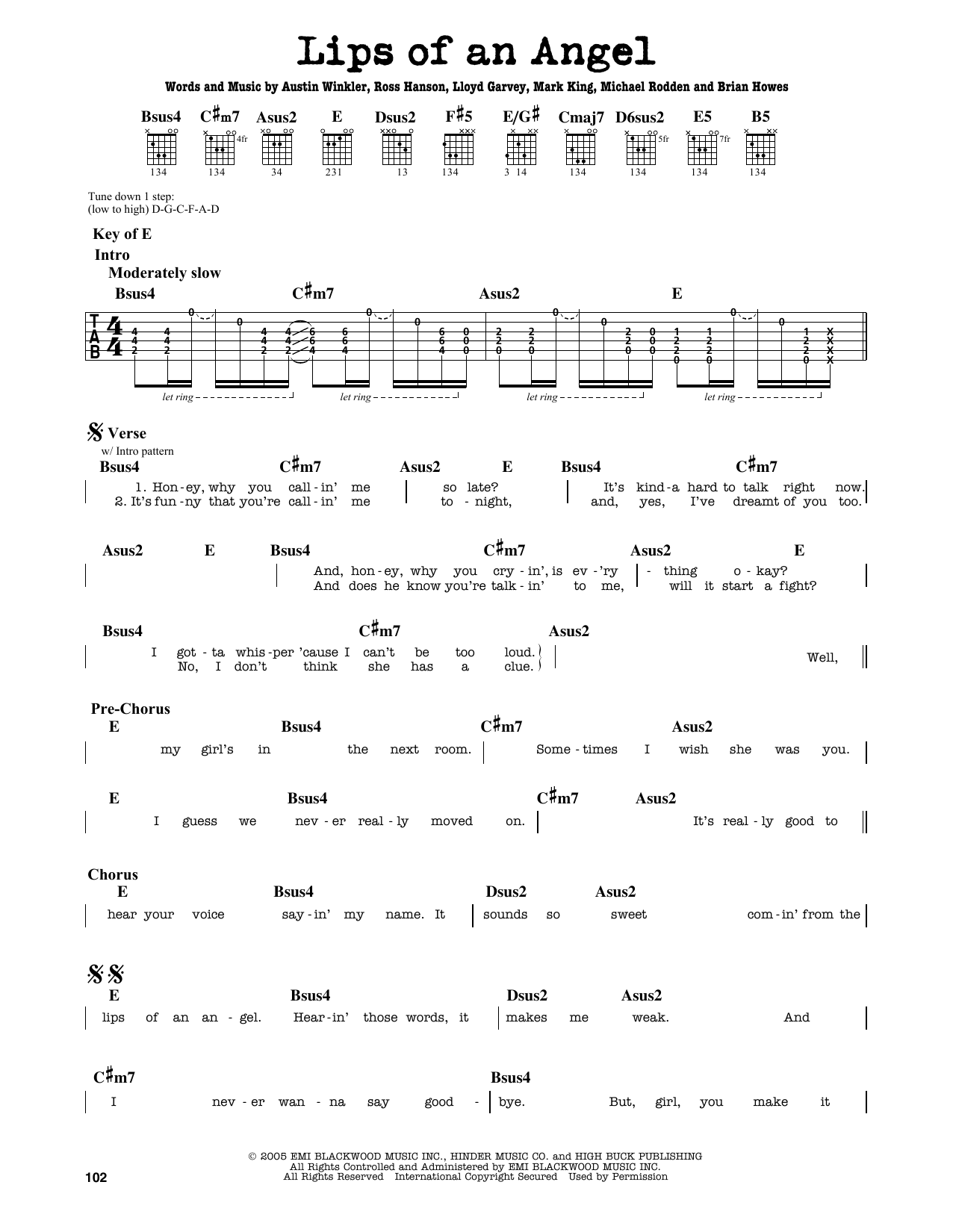 Partition autre Lips Of An Angel de Hinder - Tablature Guitare Lead
