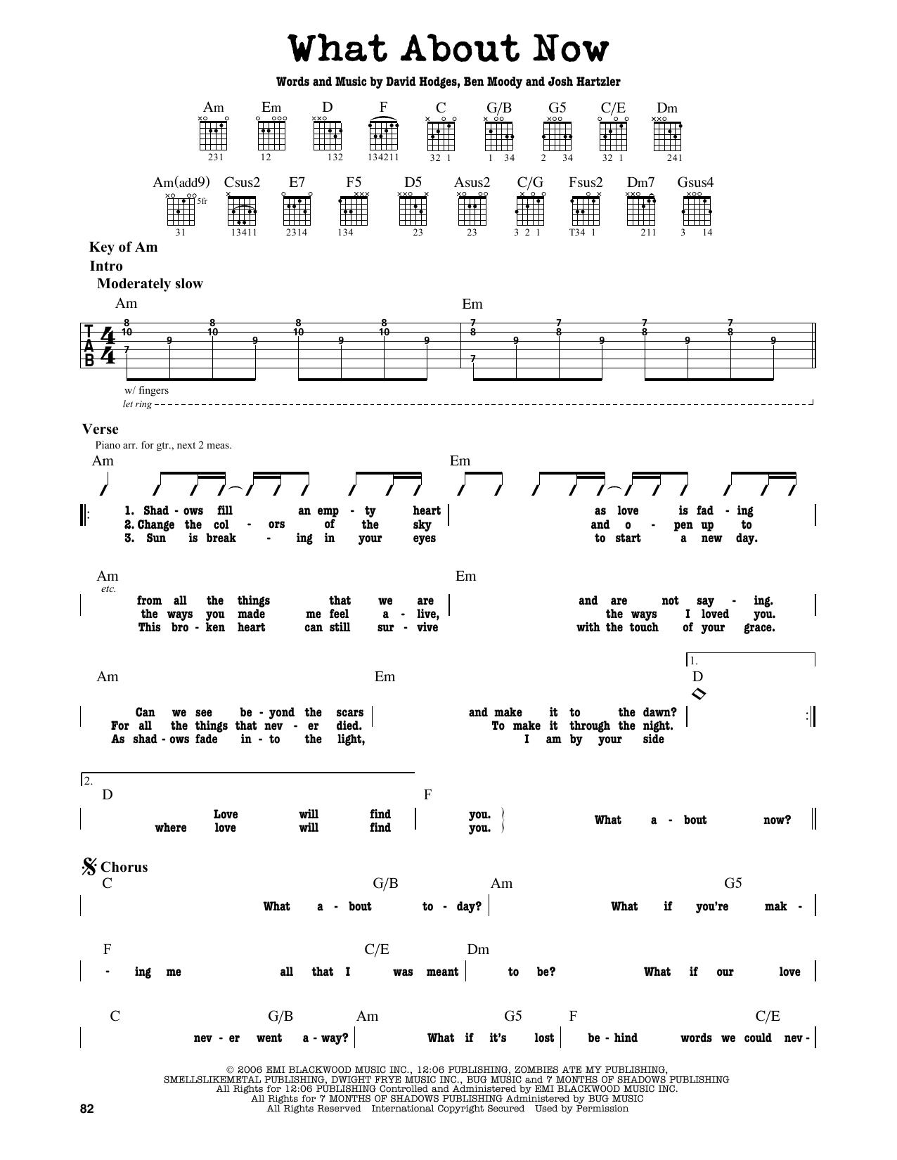 Partition autre What About Now de Daughtry - Tablature Guitare Lead