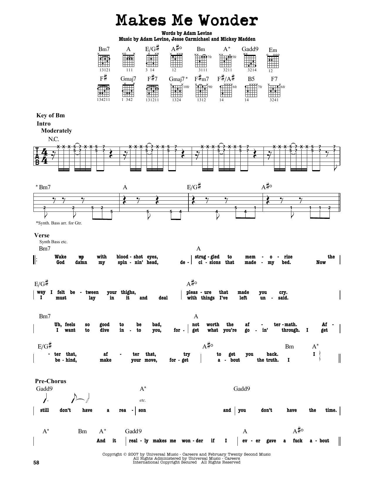 Partition autre Makes Me Wonder de Maroon 5 - Tablature Guitare Lead