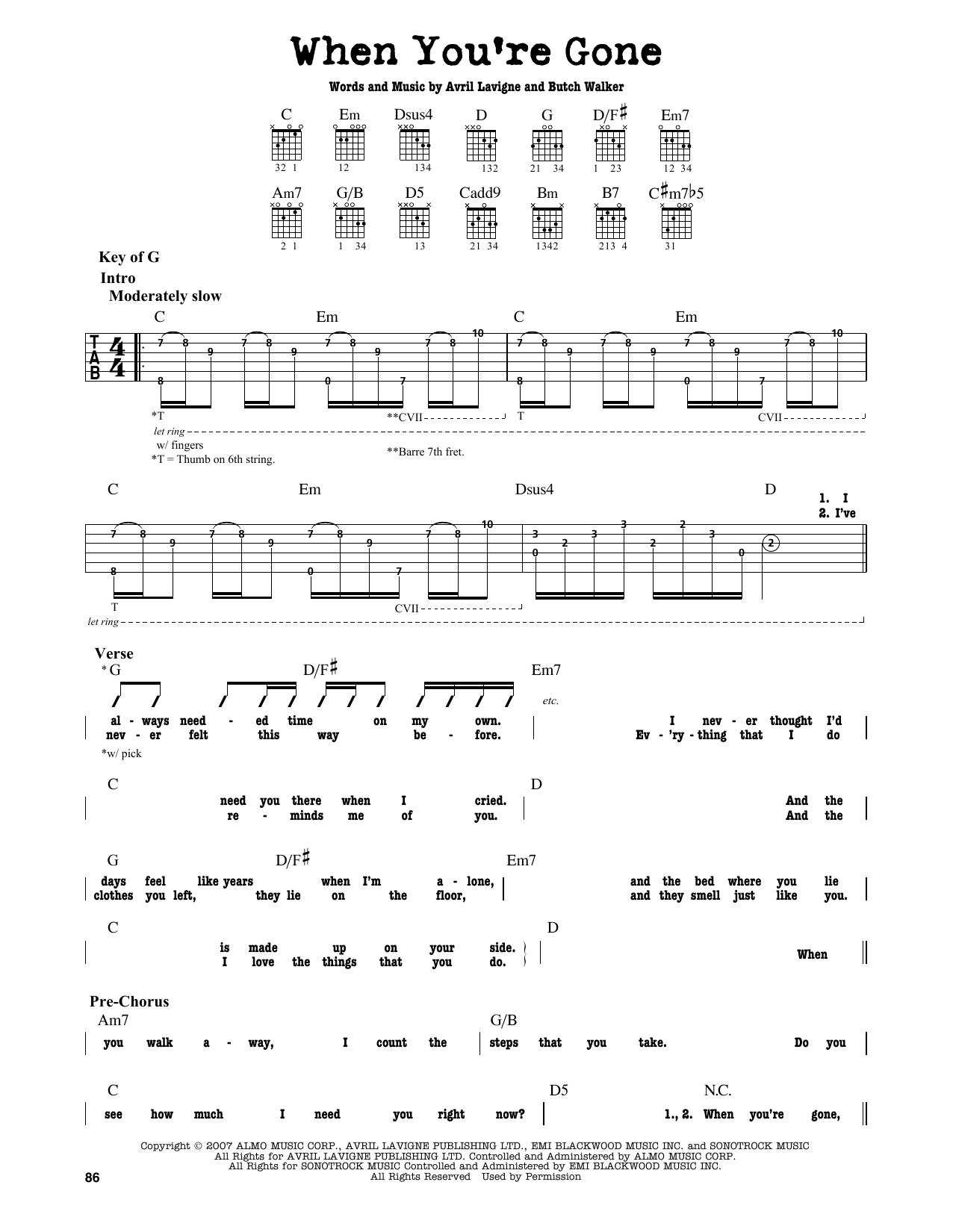 Partition autre When You're Gone de Avril Lavigne - Tablature Guitare Lead