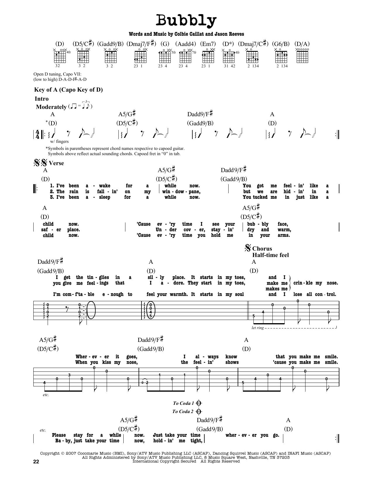 Partition autre Bubbly de Colbie Caillat - Tablature Guitare Lead