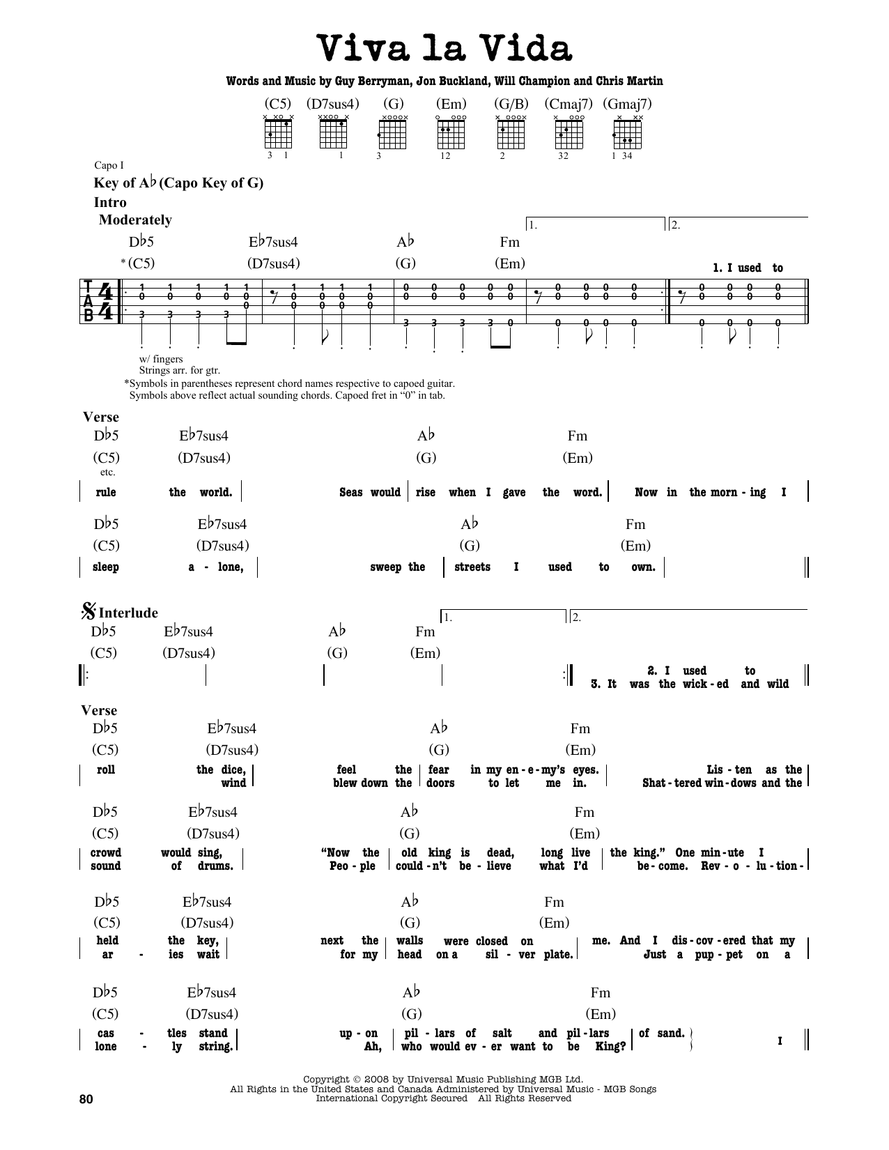 Partition autre Viva La Vida de Coldplay - Tablature Guitare Lead