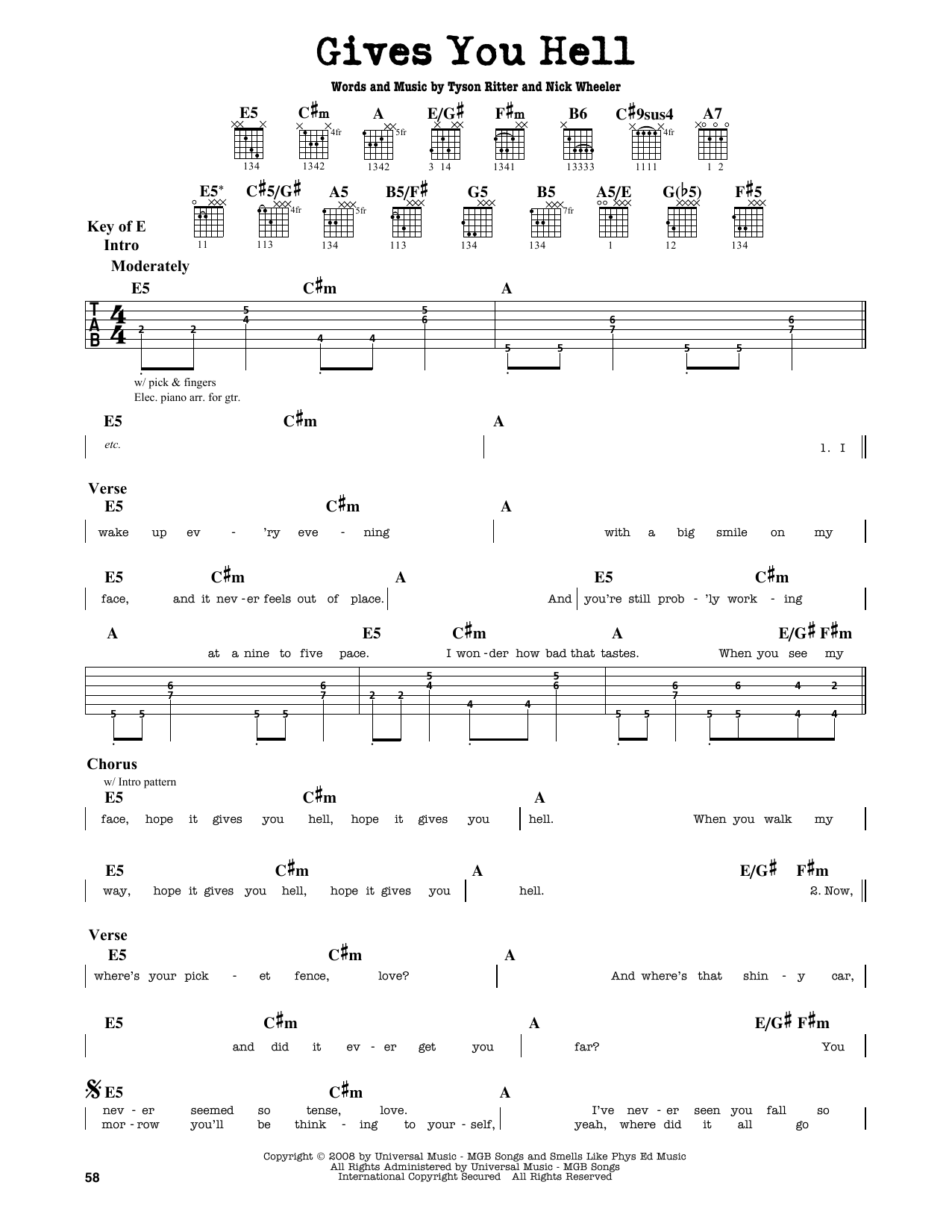 Partition autre Gives You Hell de The All-American Rejects - Tablature Guitare Lead
