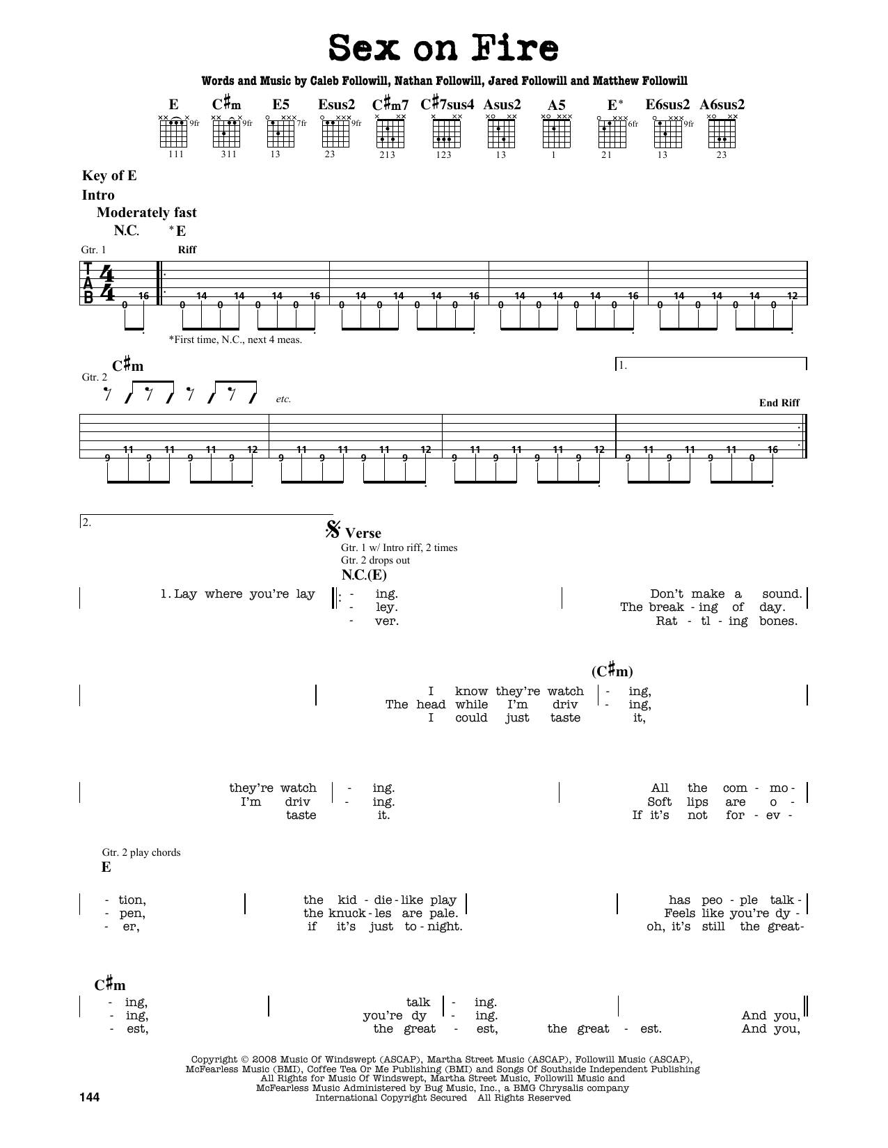 Partition autre Sex On Fire de Kings Of Leon - Tablature Guitare Lead