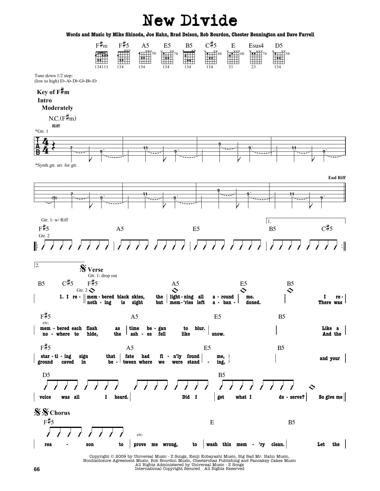 Partition autre New Divide de Linkin Park - Tablature Guitare Lead