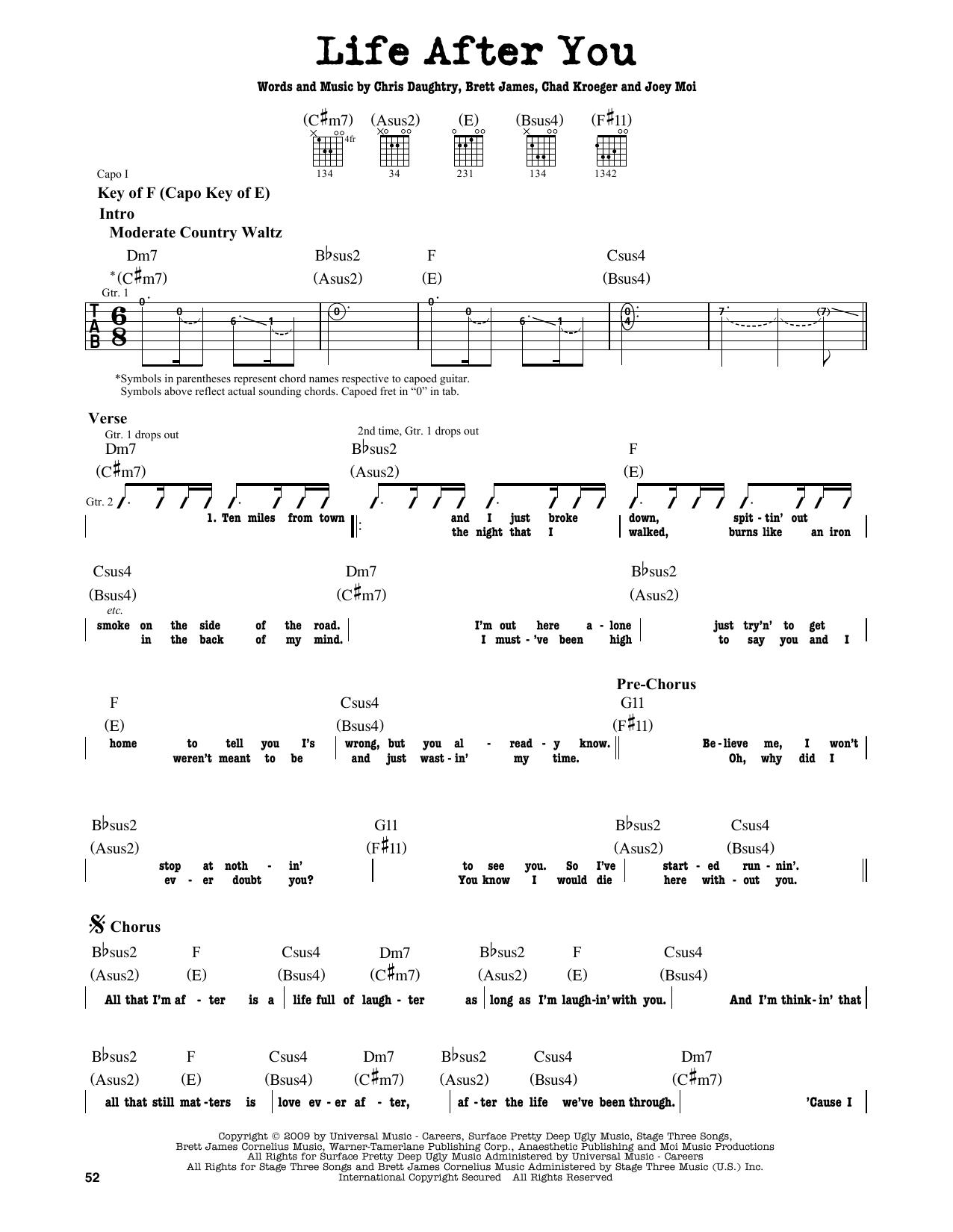 Partition autre Life After You de Daughtry - Tablature Guitare Lead