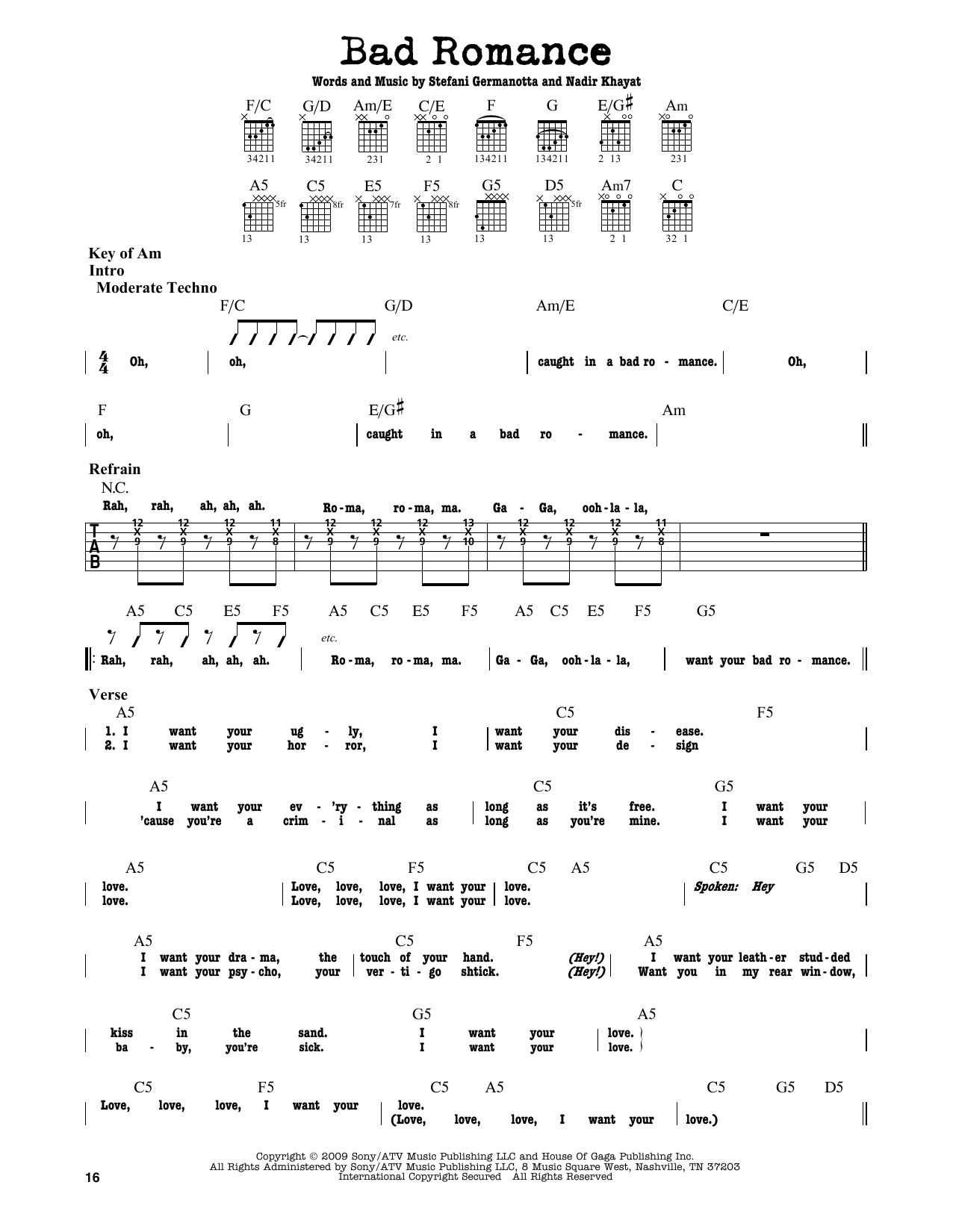 Partition autre Bad Romance de Lady Gaga - Tablature Guitare Lead