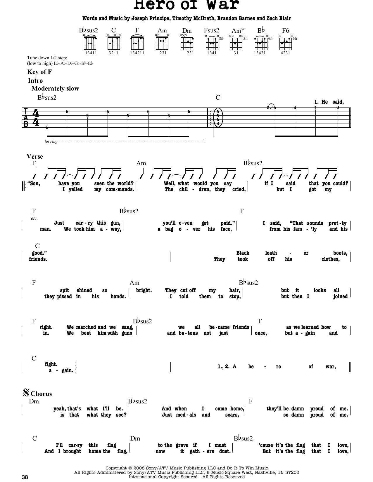 Partition autre Hero Of War de Rise Against - Tablature Guitare Lead