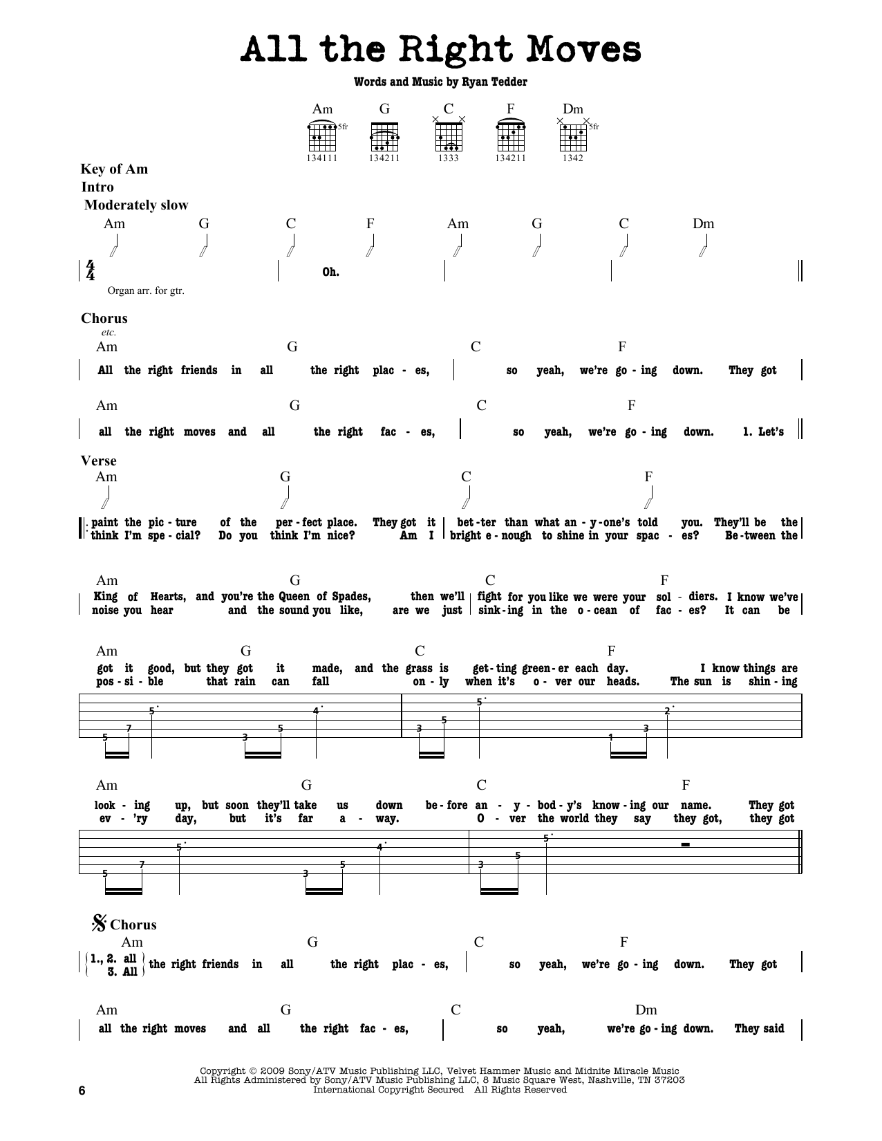 Partition autre All The Right Moves de OneRepublic - Tablature Guitare Lead