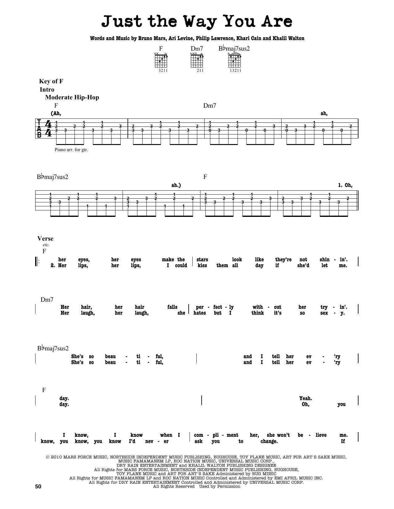 Partition autre Just The Way You Are de Bruno Mars - Tablature Guitare Lead