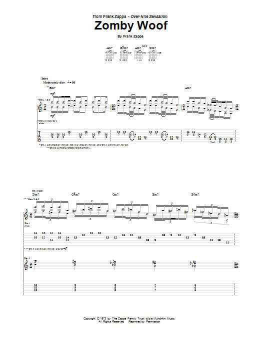 Tablature guitare Zomby Woof de Frank Zappa - Tablature Guitare