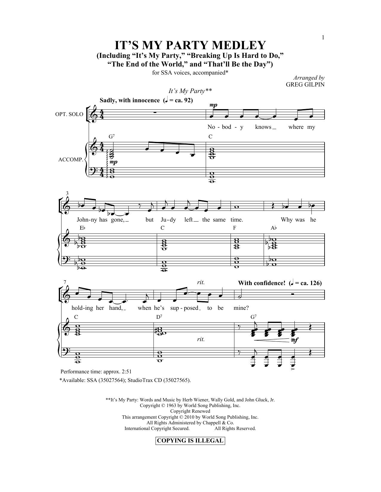 Partition chorale It's My Party Medley de Herb Wiener - SSA