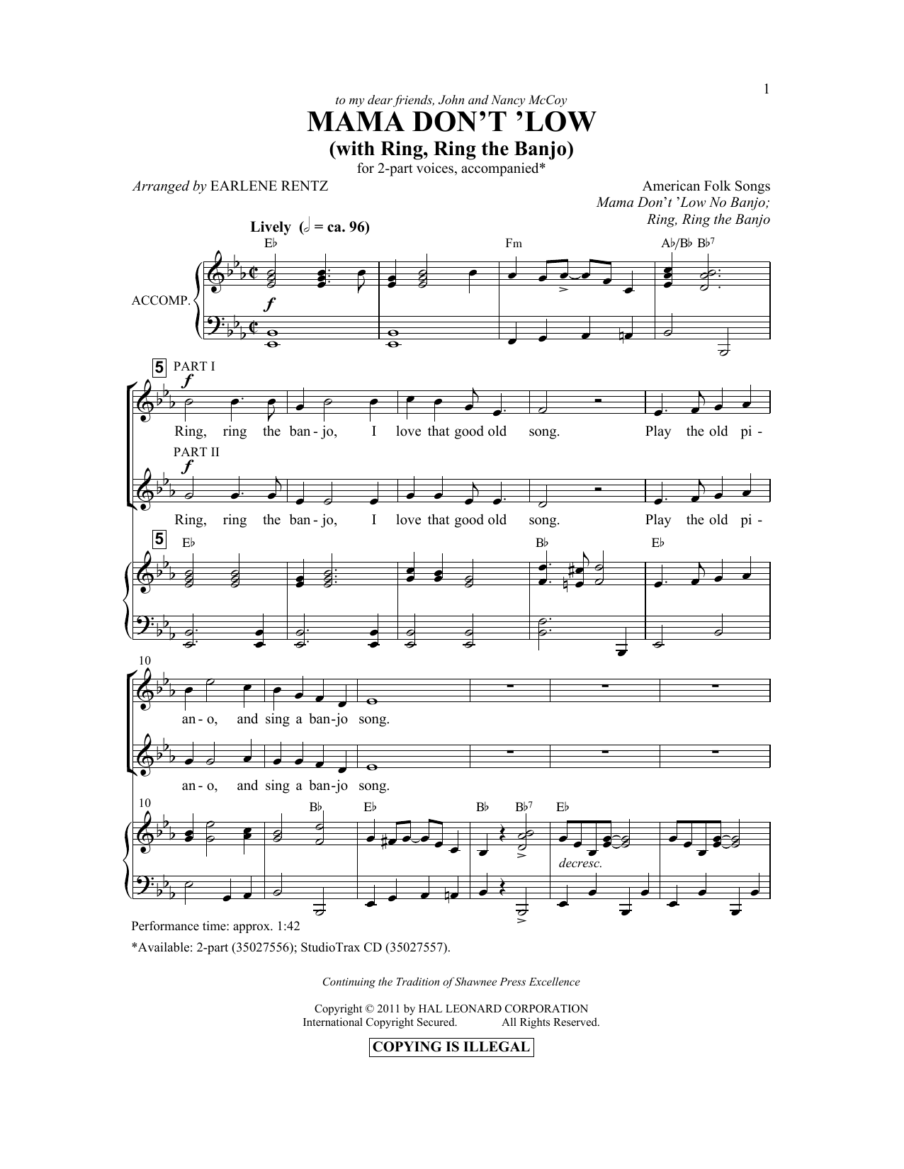 Partition chorale Mama Don't 'Low (with Ring, Ring The Banjo) de  - 2 voix