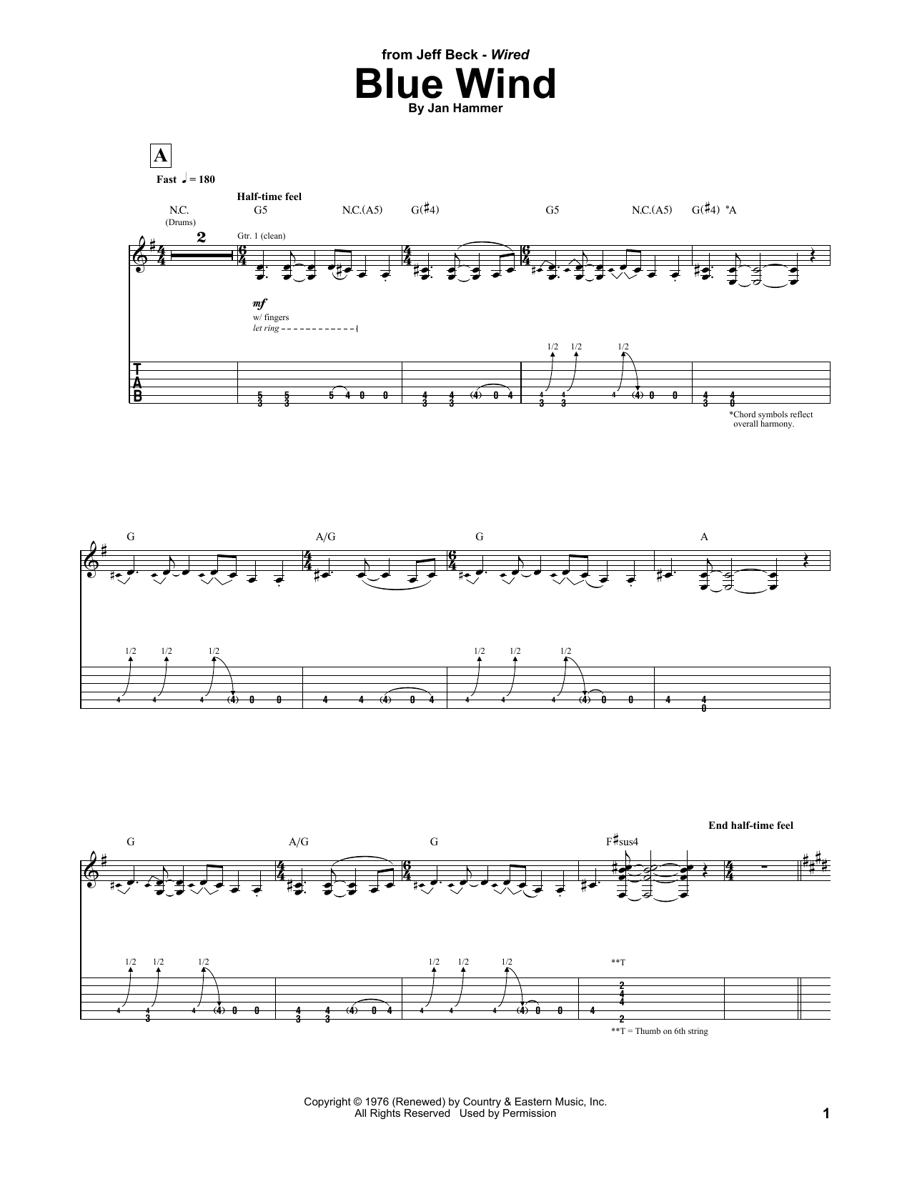 Tablature guitare Blue Wind de Jeff Beck - Tablature Guitare