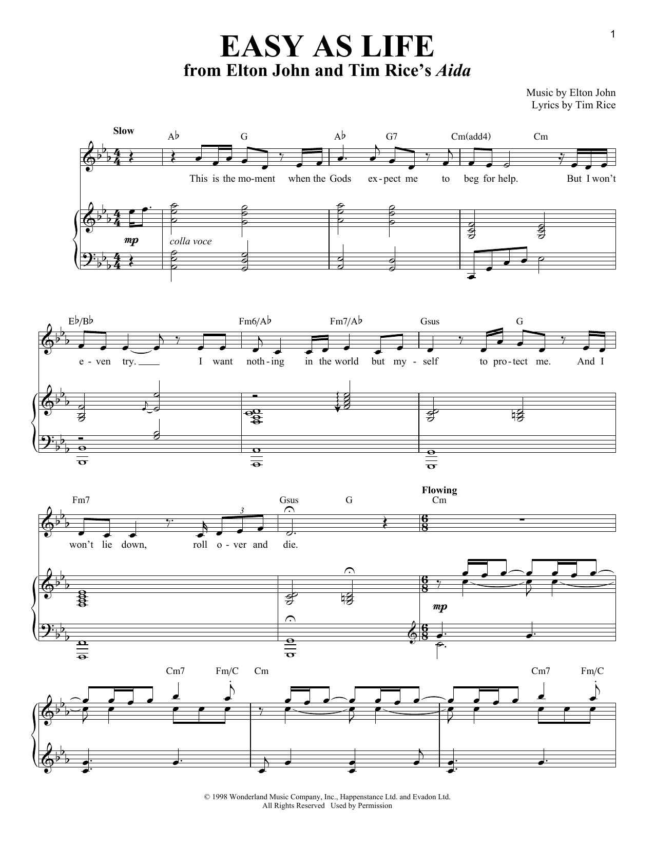 Partition piano Easy As Life de Elton John - Piano Voix