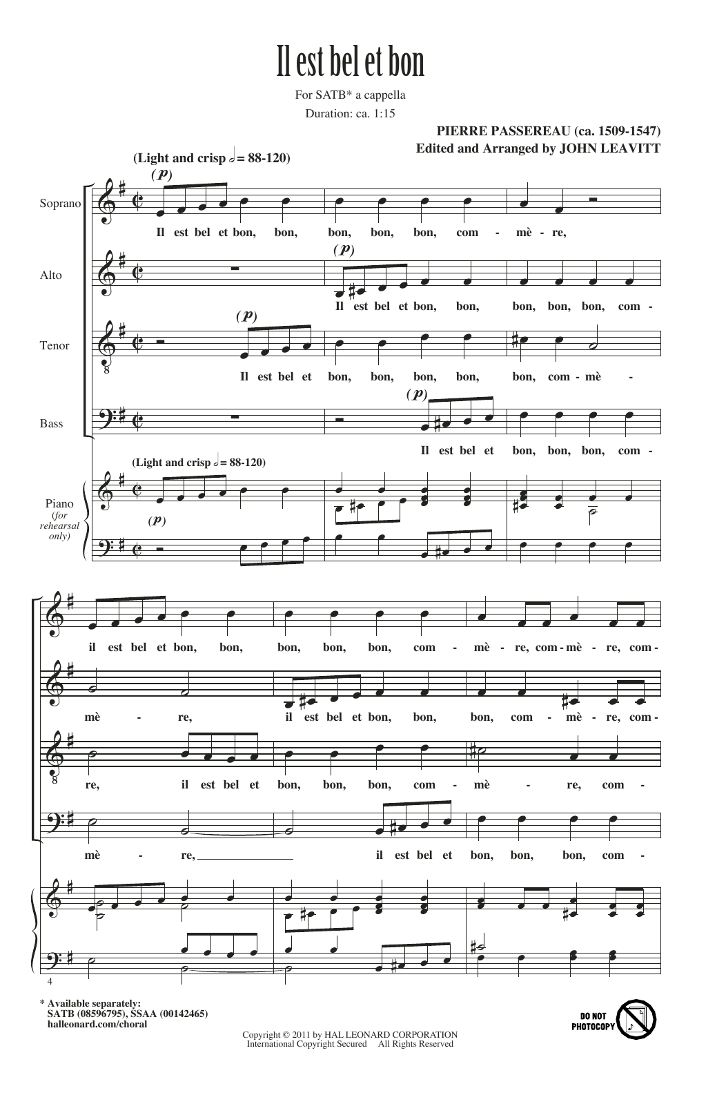 Partition chorale Il Est Bel Et Bon (A Good And Handsome Man) de Pierre Passereau - SATB