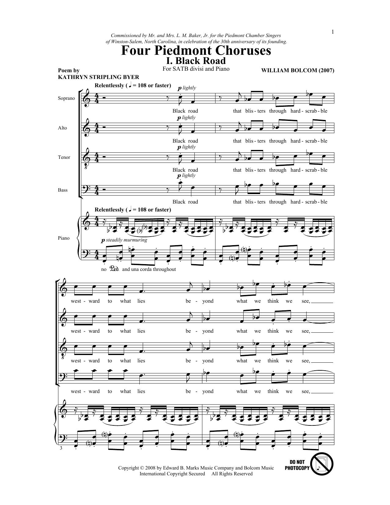 Partition chorale Four Piedmont Choruses de William Bolcom - SATB