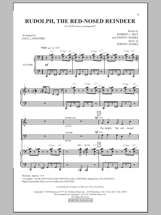 Partition chorale Rudolph The Red-Nosed Reindeer (arr. Paul Langford) de Johnny Marks - SATB