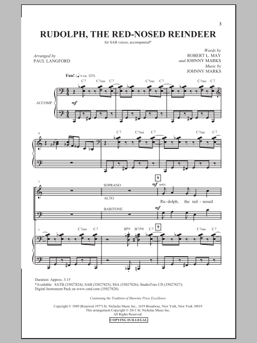 Partition chorale Rudolph The Red-Nosed Reindeer (arr. Paul Langford) de Johnny Marks - SAB