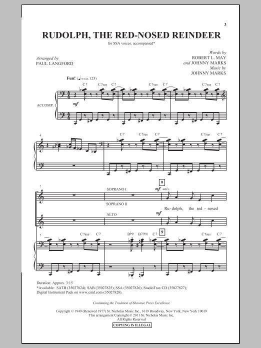 Partition chorale Rudolph The Red-Nosed Reindeer (arr. Paul Langford) de Johnny Marks - SSA