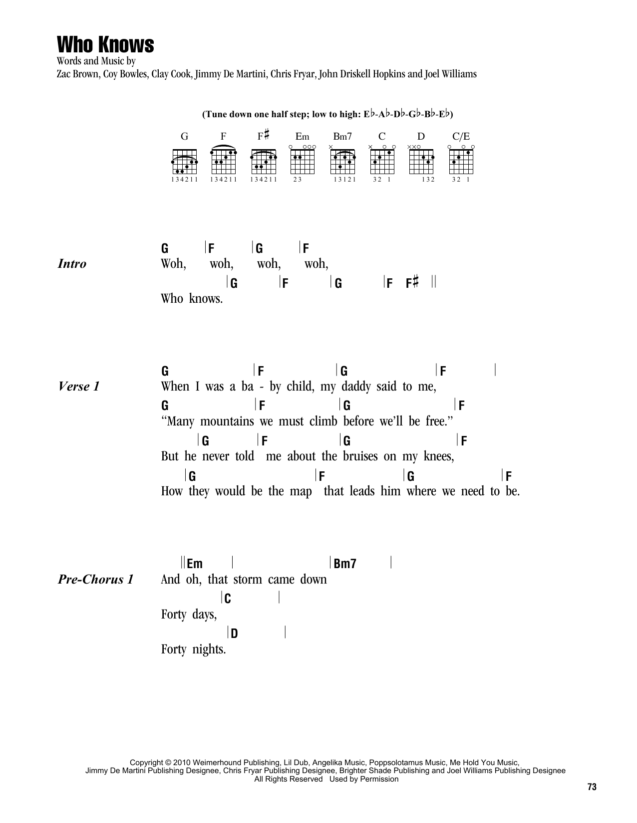 Who Knows by Zac Brown Band - Guitar Chords/Lyrics - Guitar Instructor